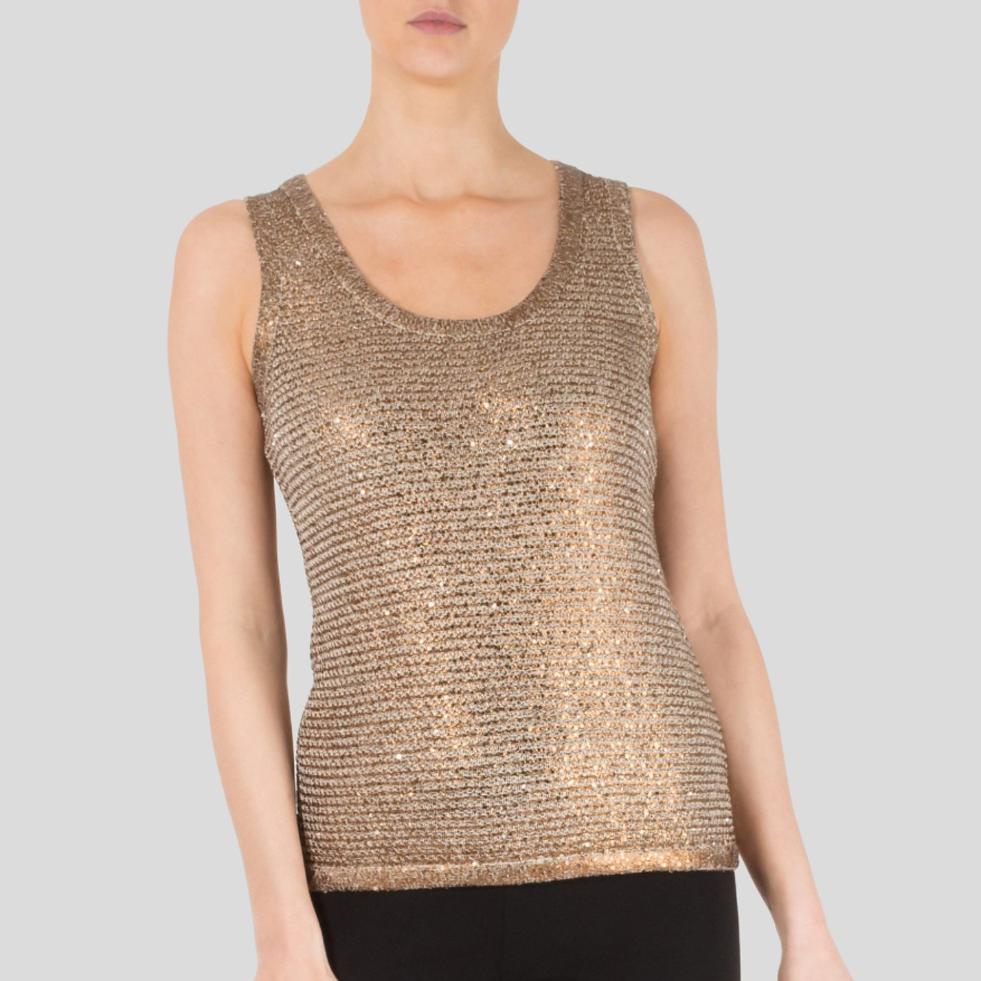 Oscar De La Renta Sequin Embellished Metallic Knitted Top