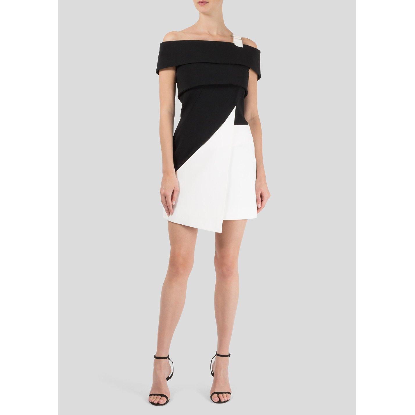 Mugler Off The Shoulder Monochrome Dress