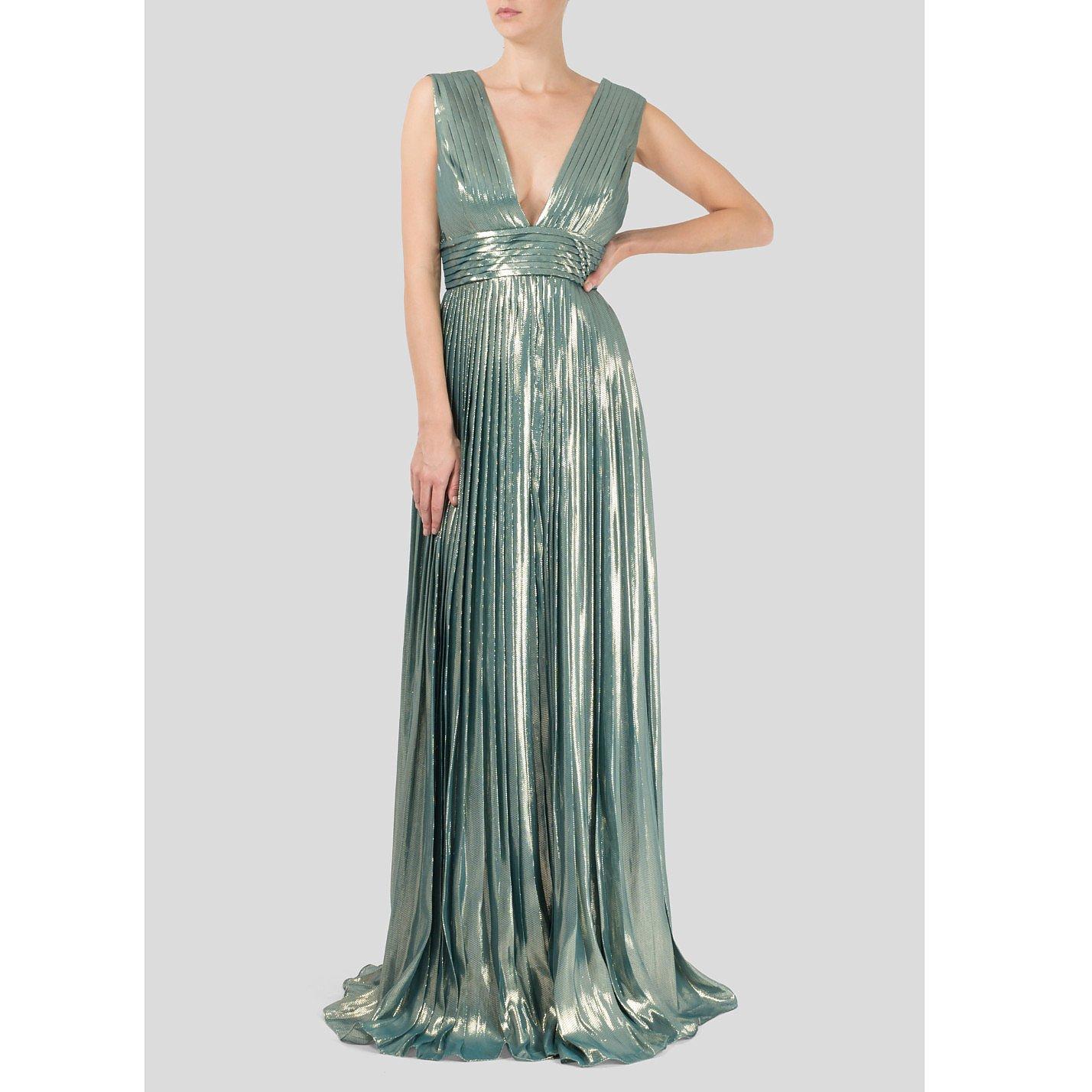 Dhela Pleated Metallic Silk Gown