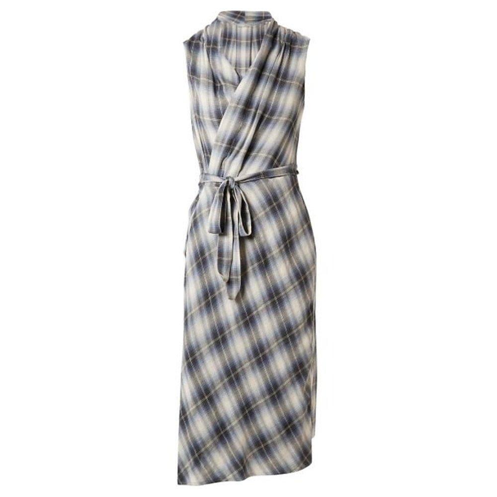 Vince Plaid Sleeveless Shirt Wrap Dress