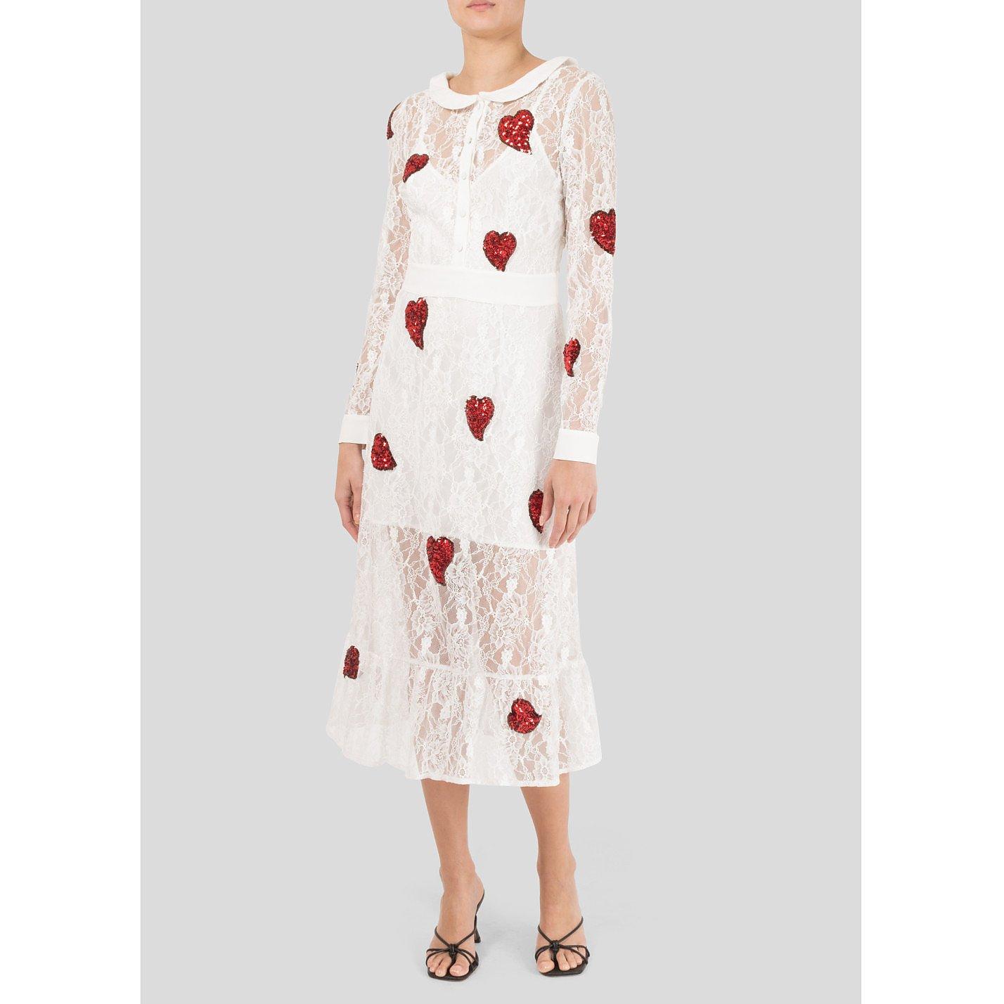 for Love & Lemons Heart Sequin Embellished Lace Dress