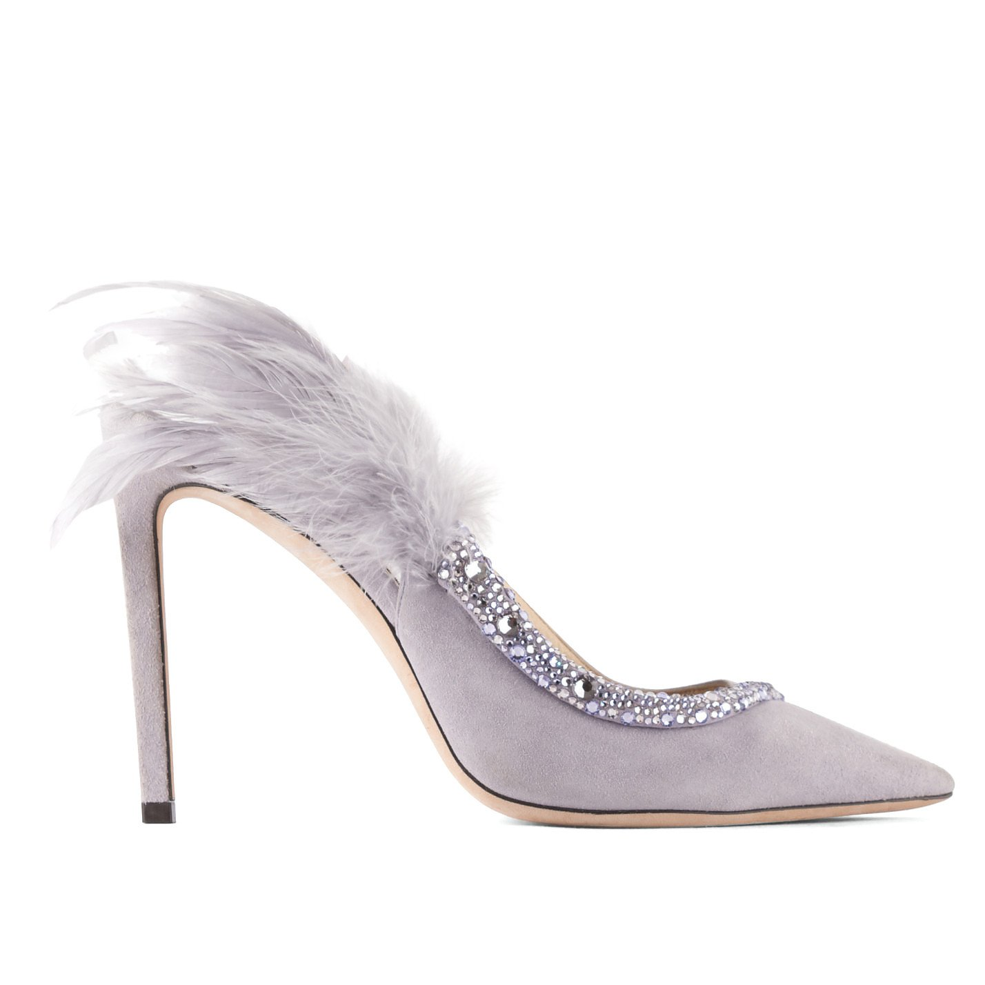 Jimmy Choo Tacey Crystal & Feather Embellished Slingback Sandals