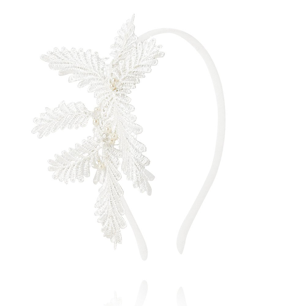 Michel Millinery Crystal and Pearl Embellished Fern Lace Headband