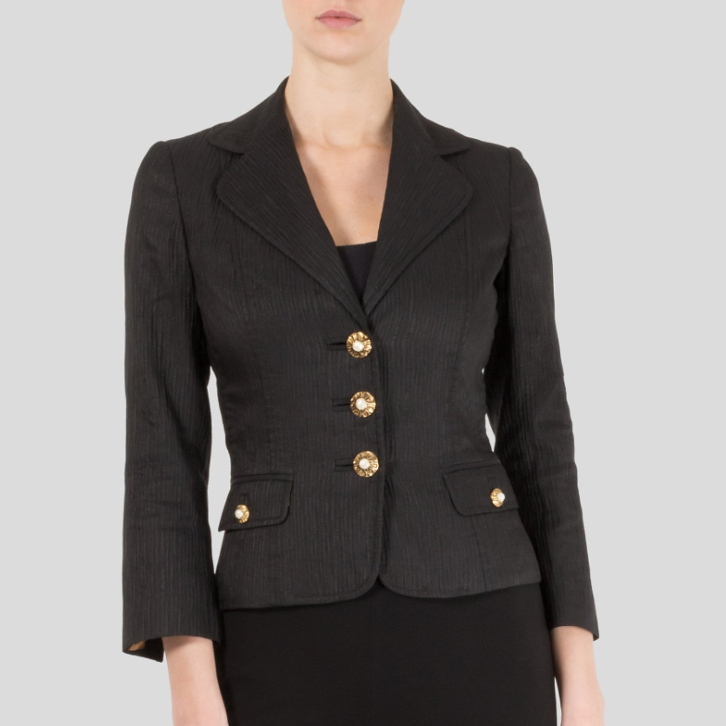 DOLCE & GABBANA Ribbed Blazer With Faux Pearl Buttons