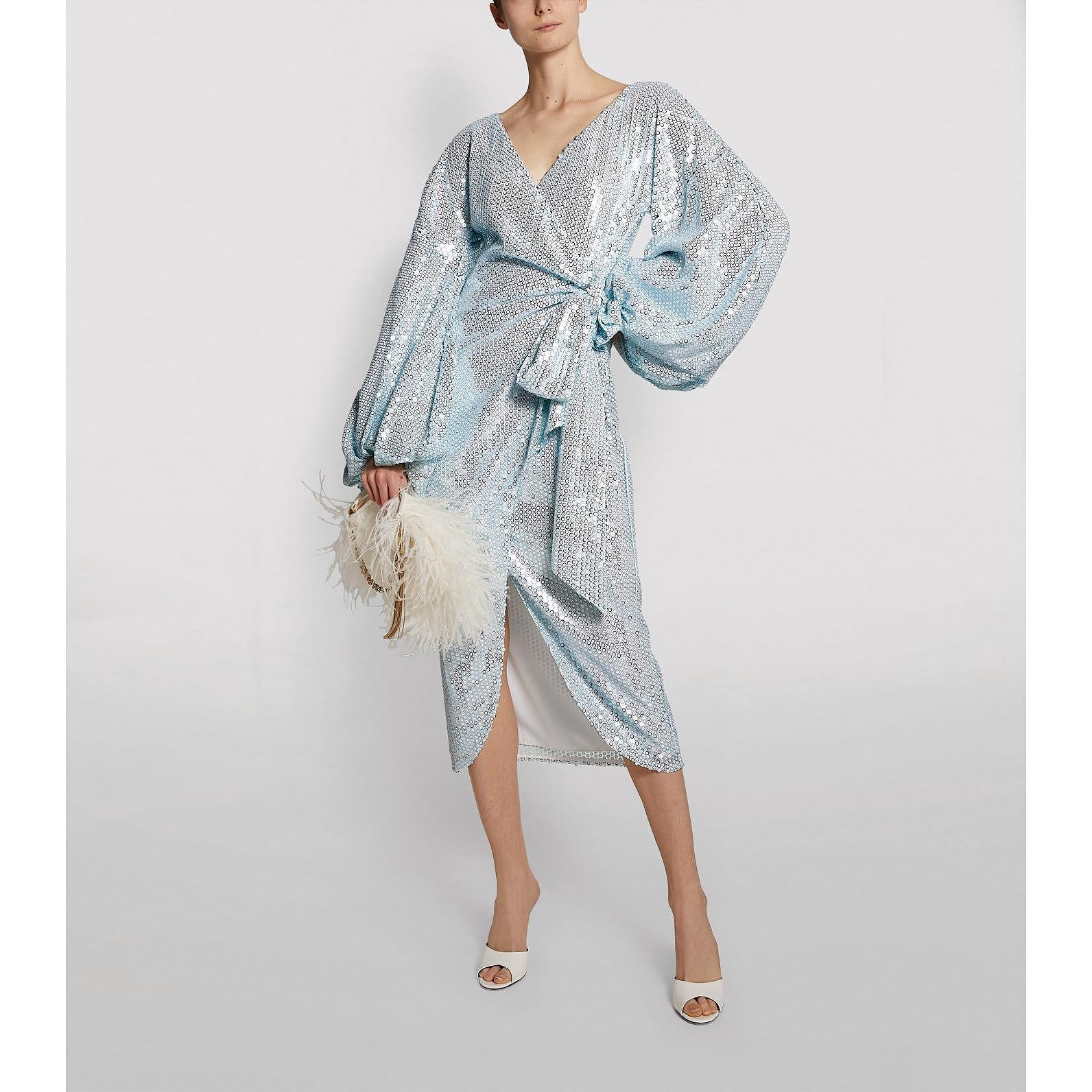 Halpern Embellished Midi Wrap Dress