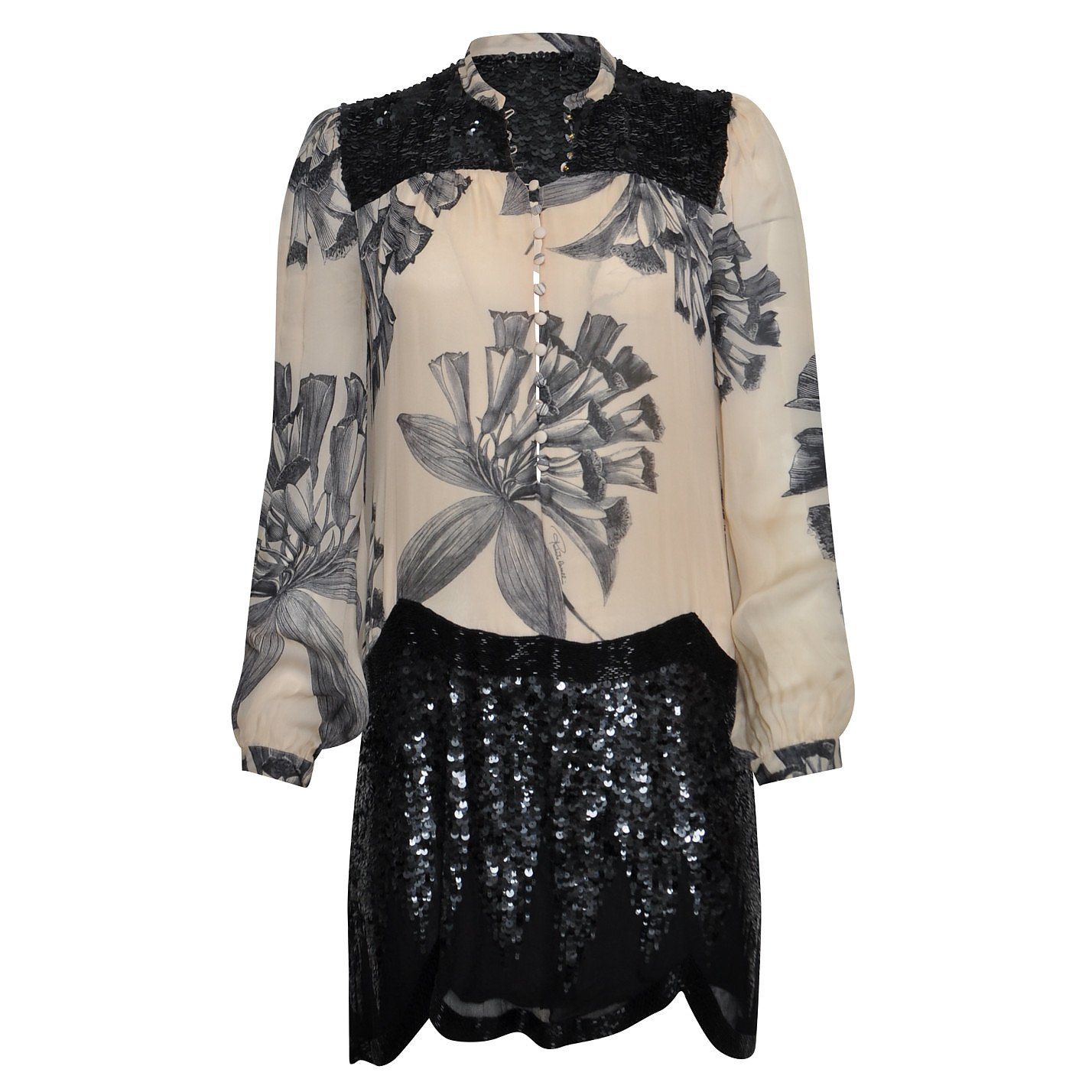 Roberto Cavalli Sequin-Embellished Printed Tunic Dress