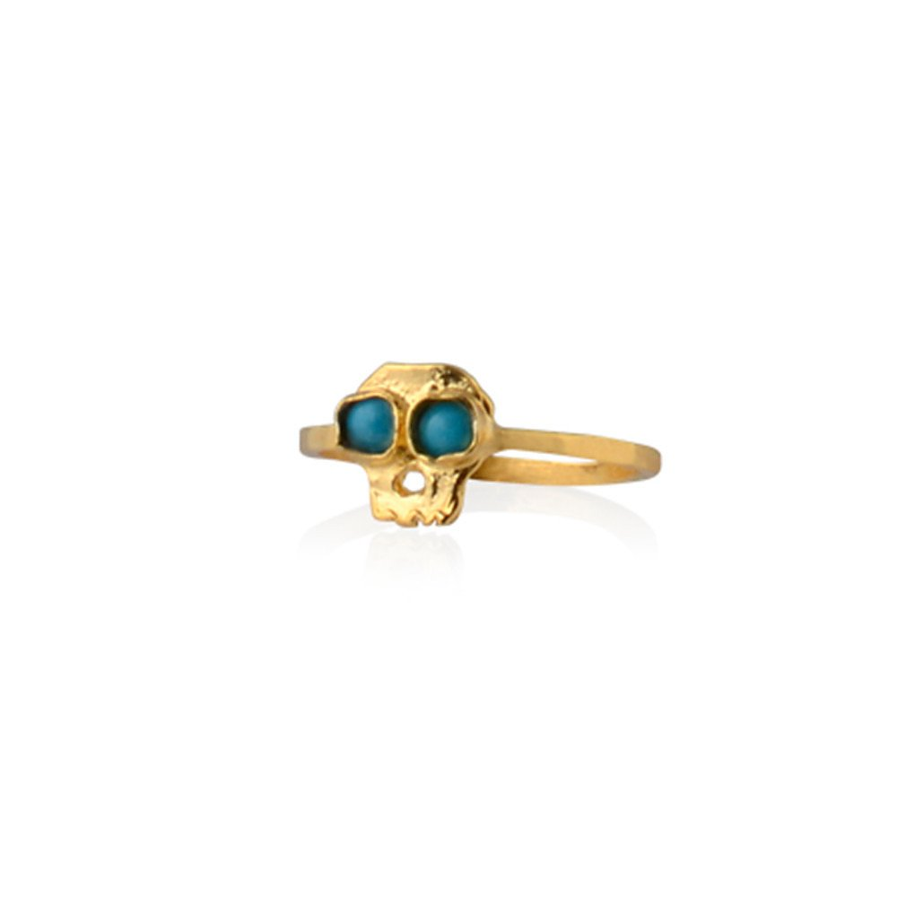 Daisy Knights Skull and Turquoise Ring