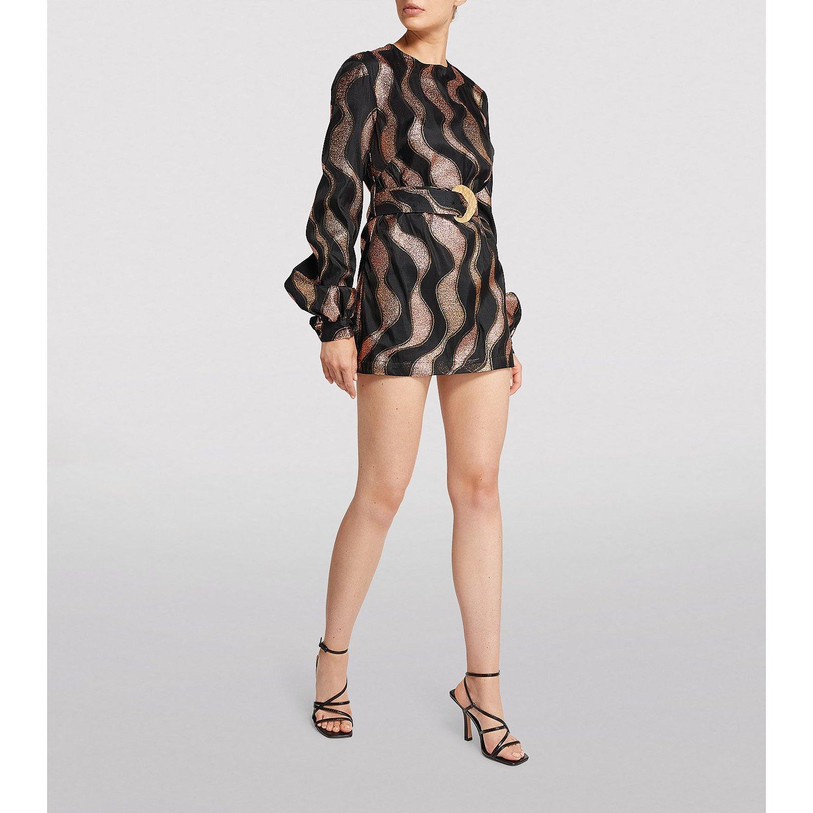 Taller Marmo Metallic Belted Mini Dress