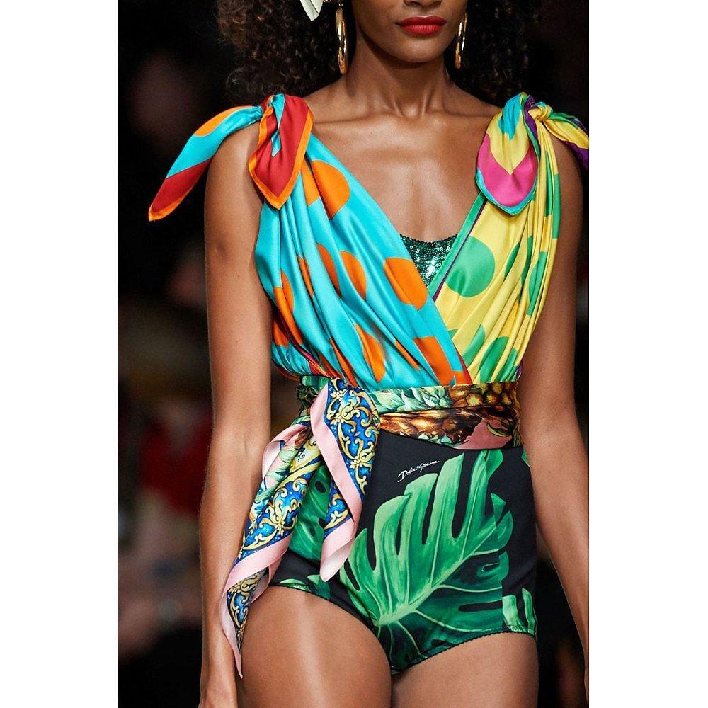 DOLCE & GABBANA Mix Print Bodysuit