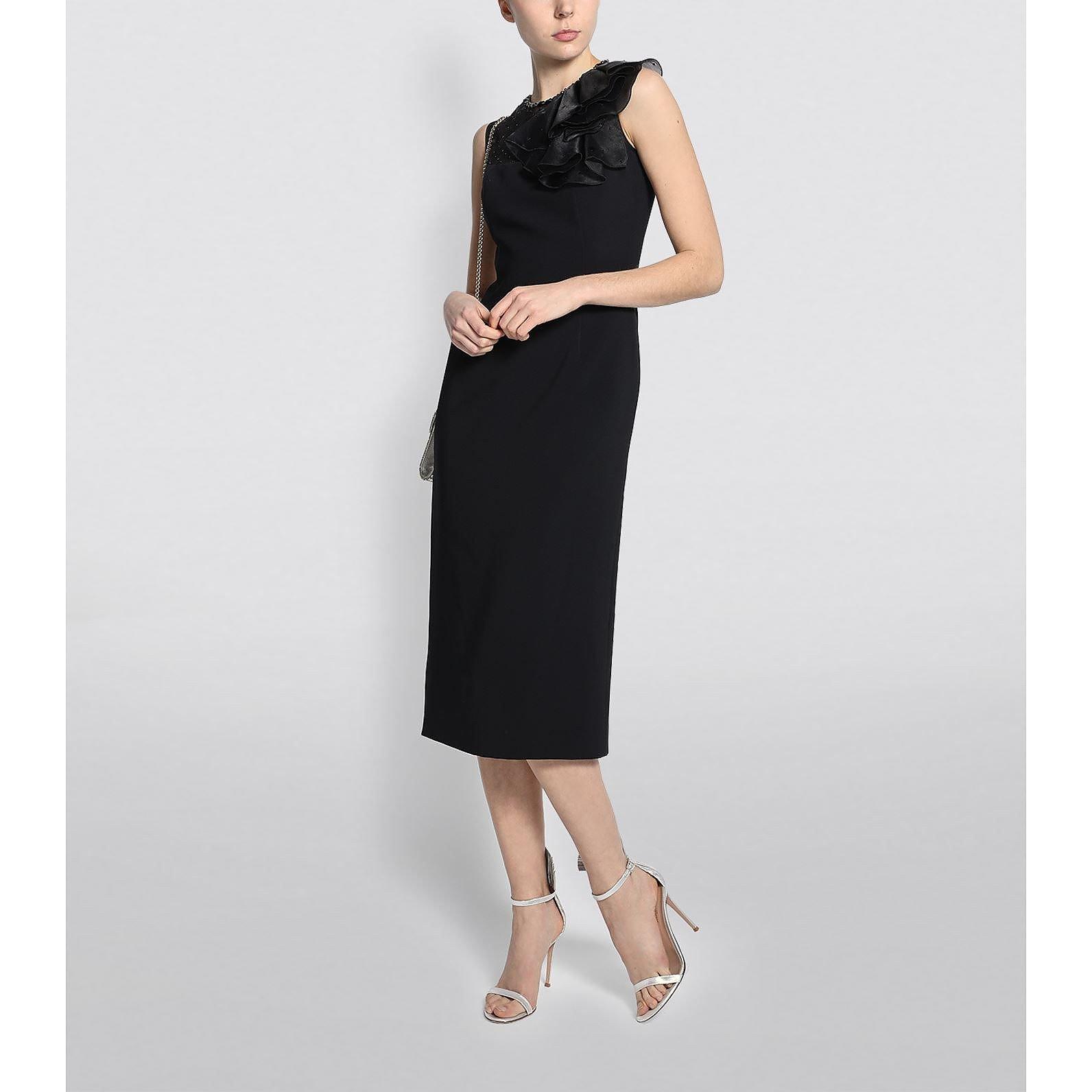 Jenny Packham Paloma Ruffle-Shoulder Midi Dress