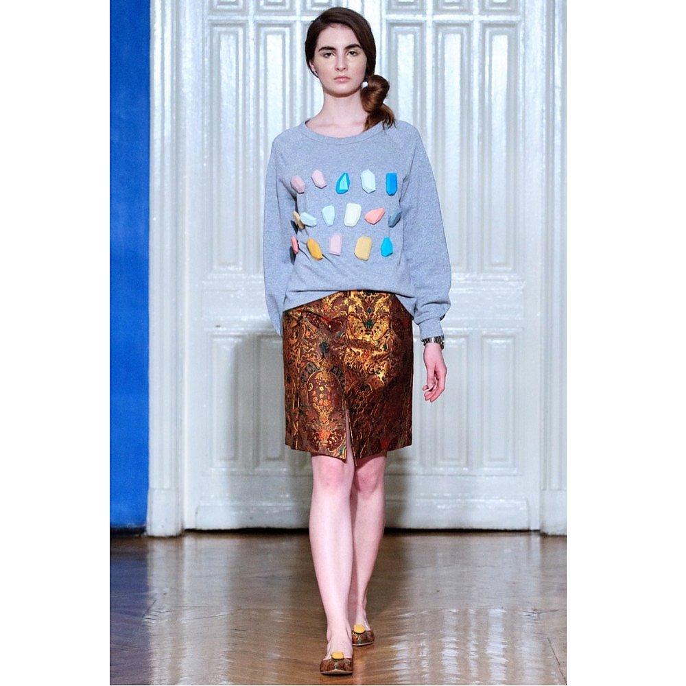 Vika Gazinskaya A-line Lurex Printed Skirt