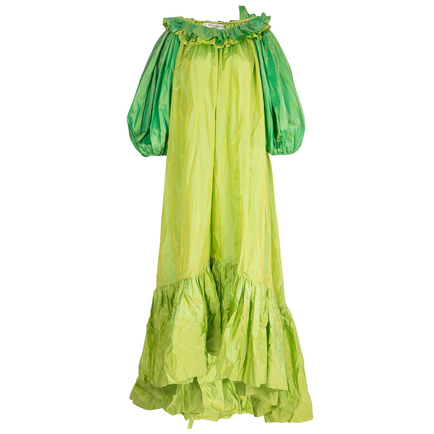 Vintage Couture Ruffled Silk Dress With Feather Boa
