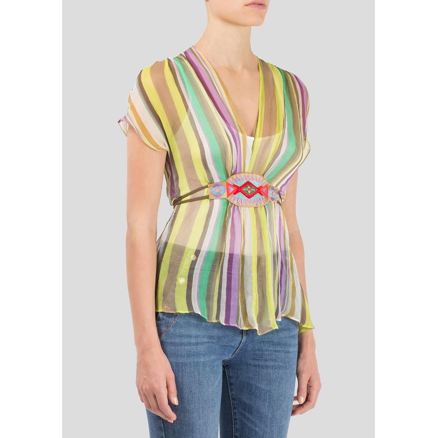 ETRO Multicolour Striped Silk Top