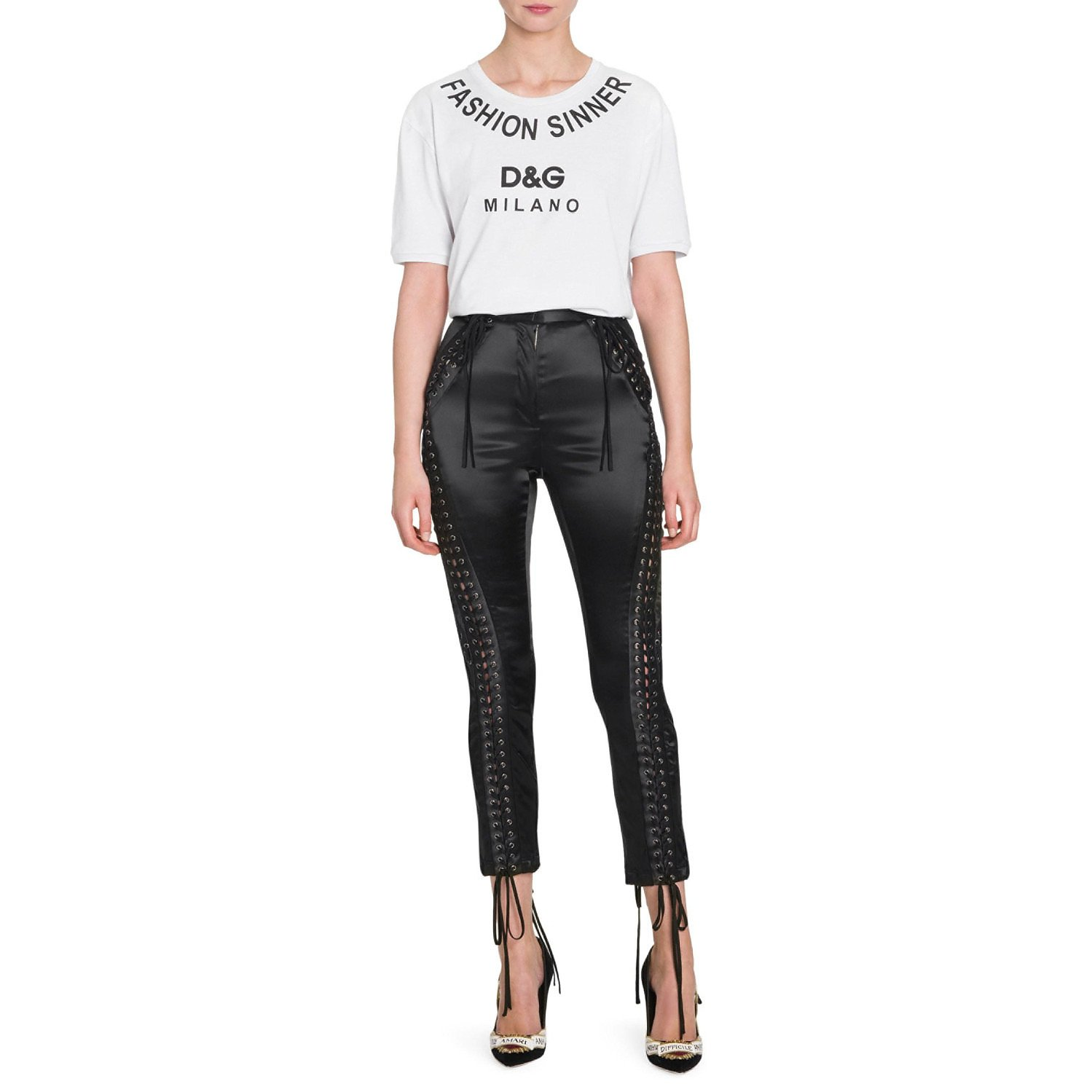 DOLCE & GABBANA Lace-Up Satin Trousers