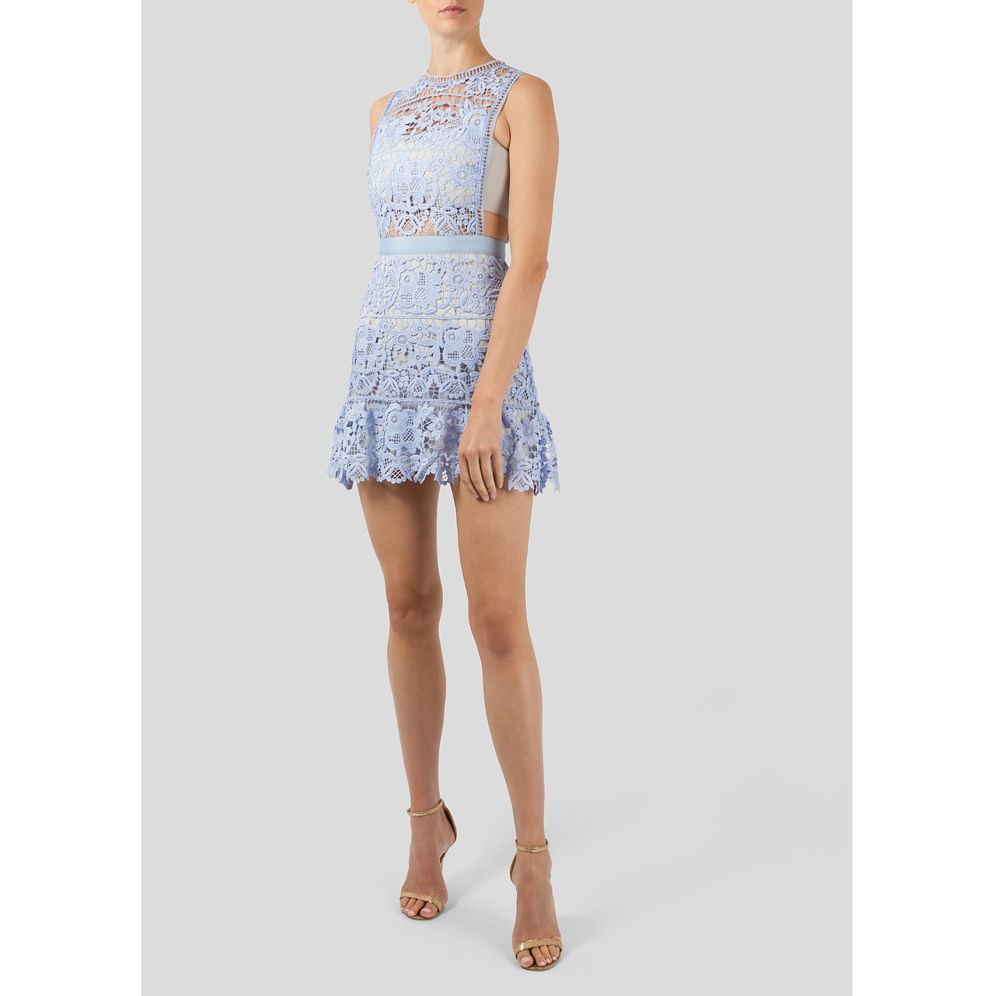 Self-Portrait Sleeveless Lace Mini Dress