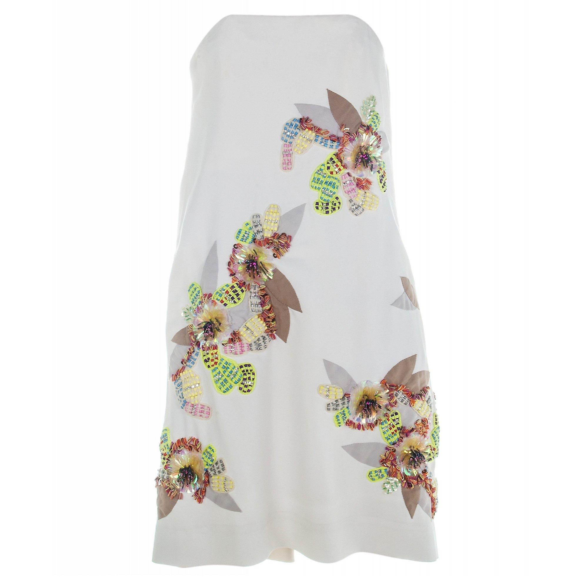 Chloé Embroidered Silk Strapless Dress
