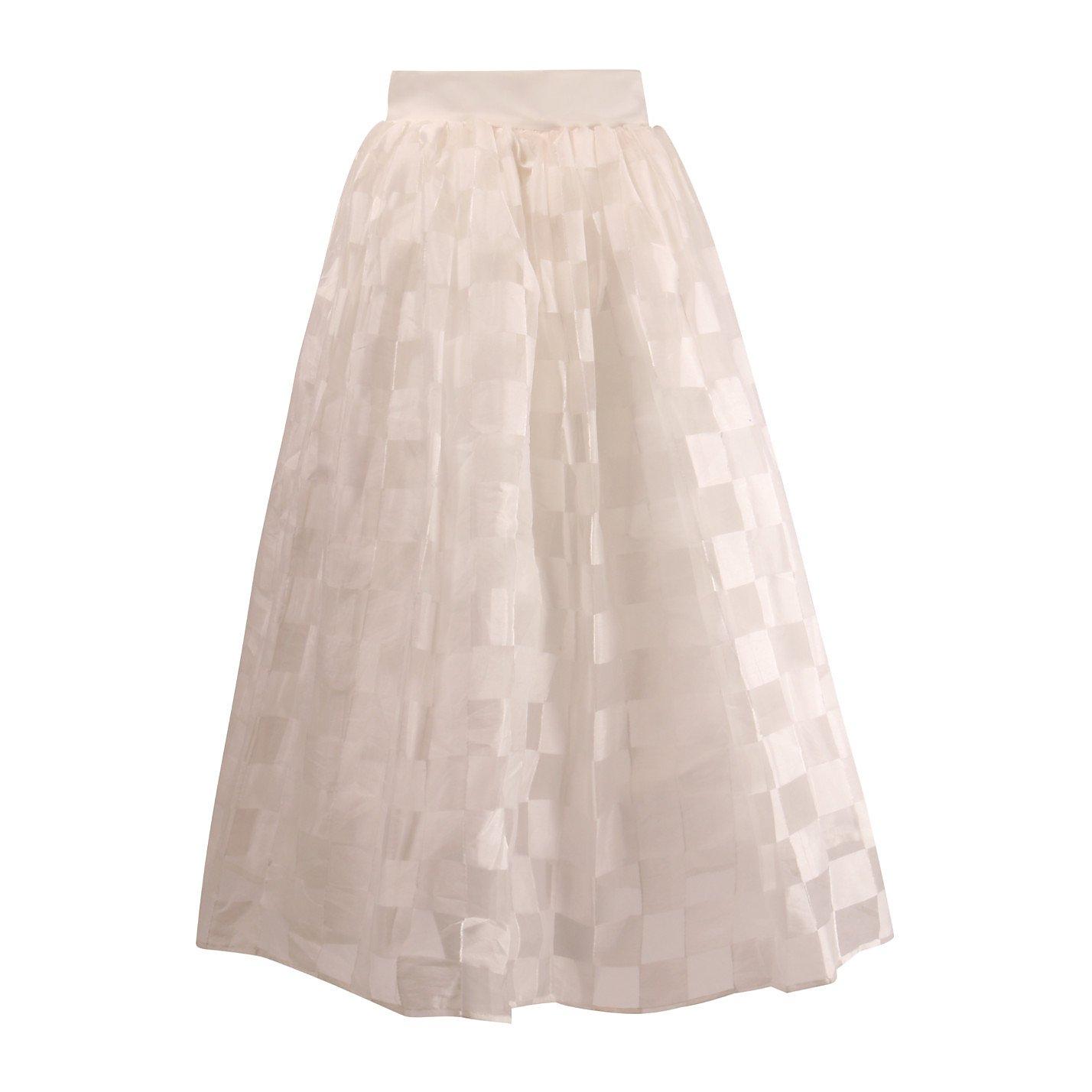 poca & poca Sheer Check-Patterned A-Line Skirt