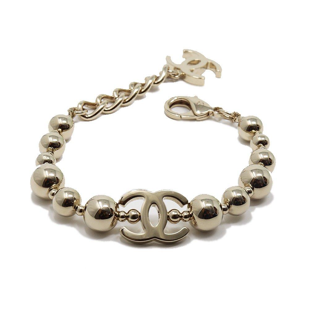 CHANEL Gold Bead Logo Bracelet