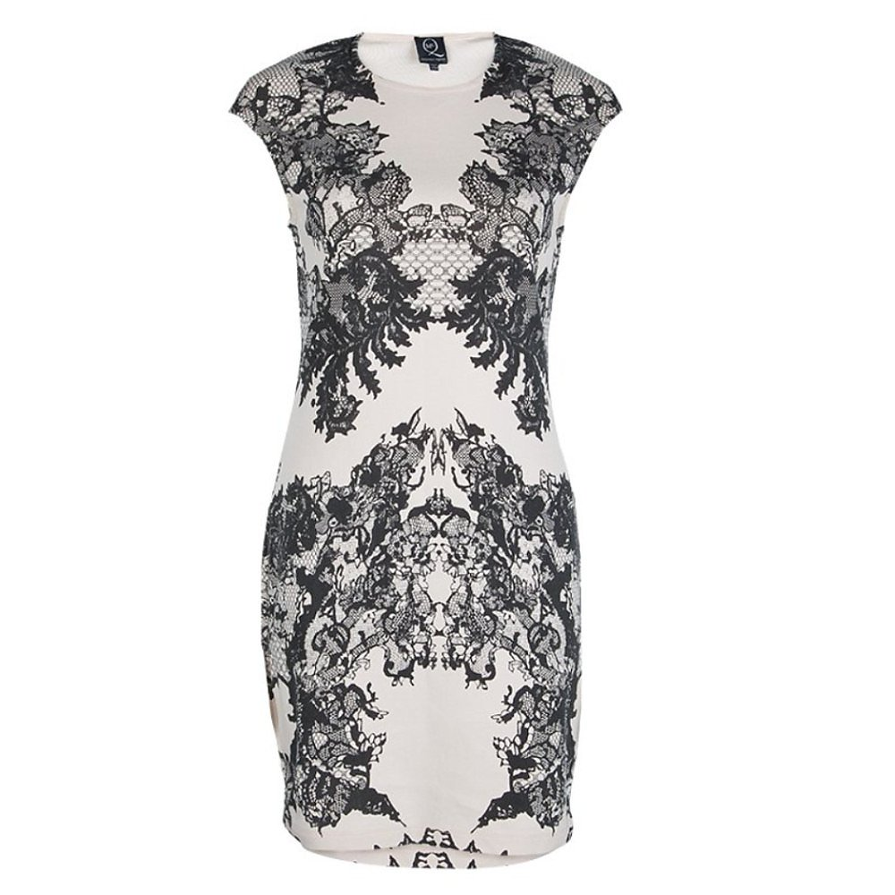 McQ Lace-Print Silk Mini Dress