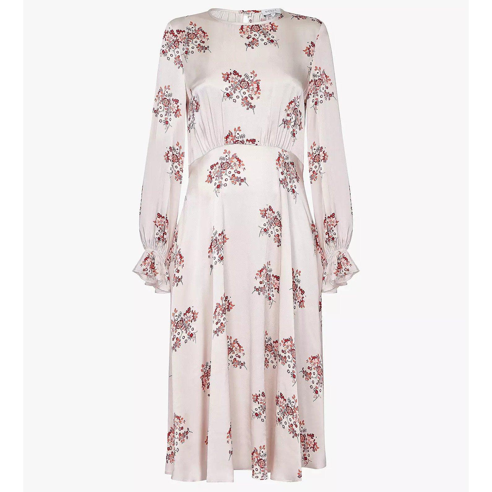 Ghost Mascha Floral Print Satin Midi Dress