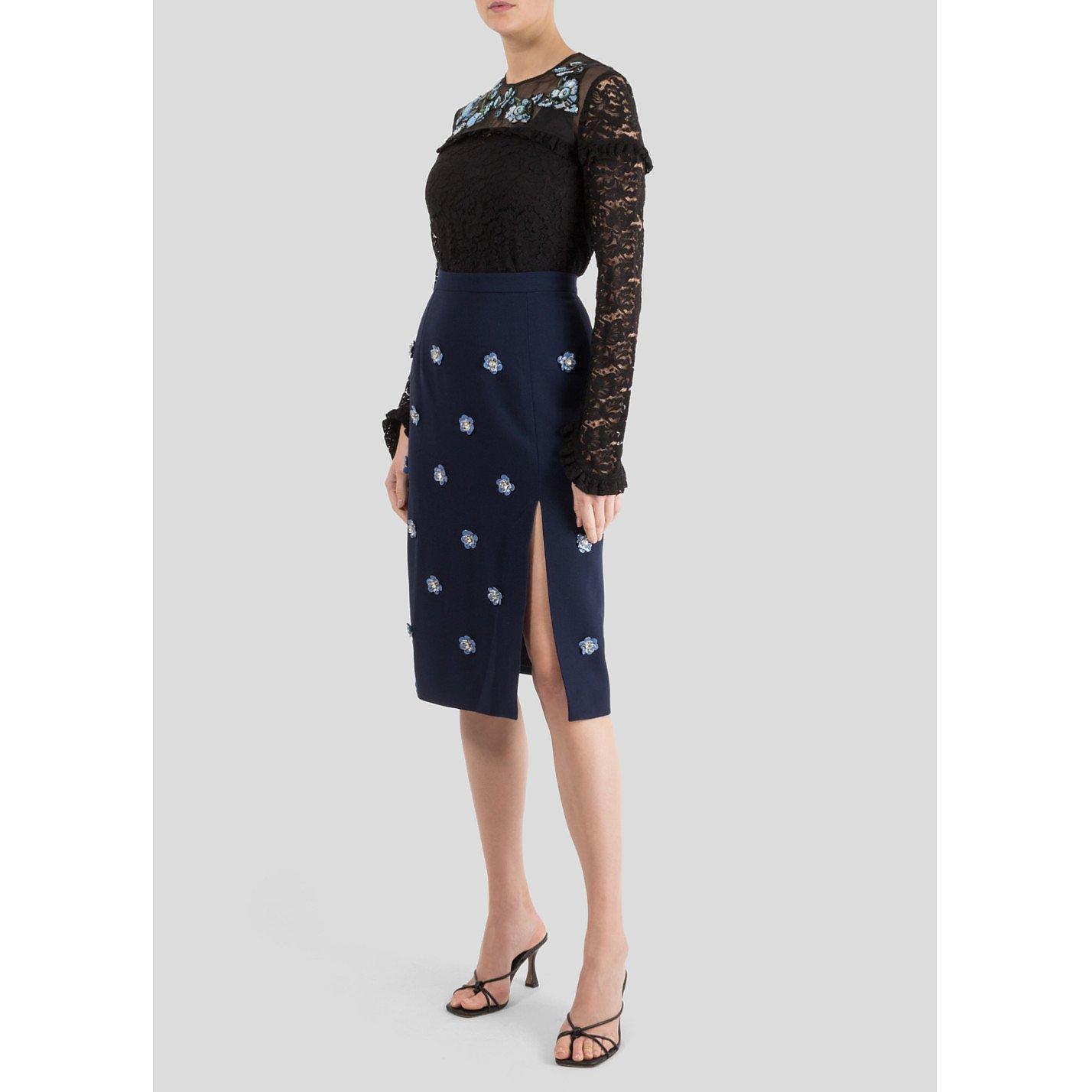 Markus Lupfer Portia Embellished Crepe Skirt