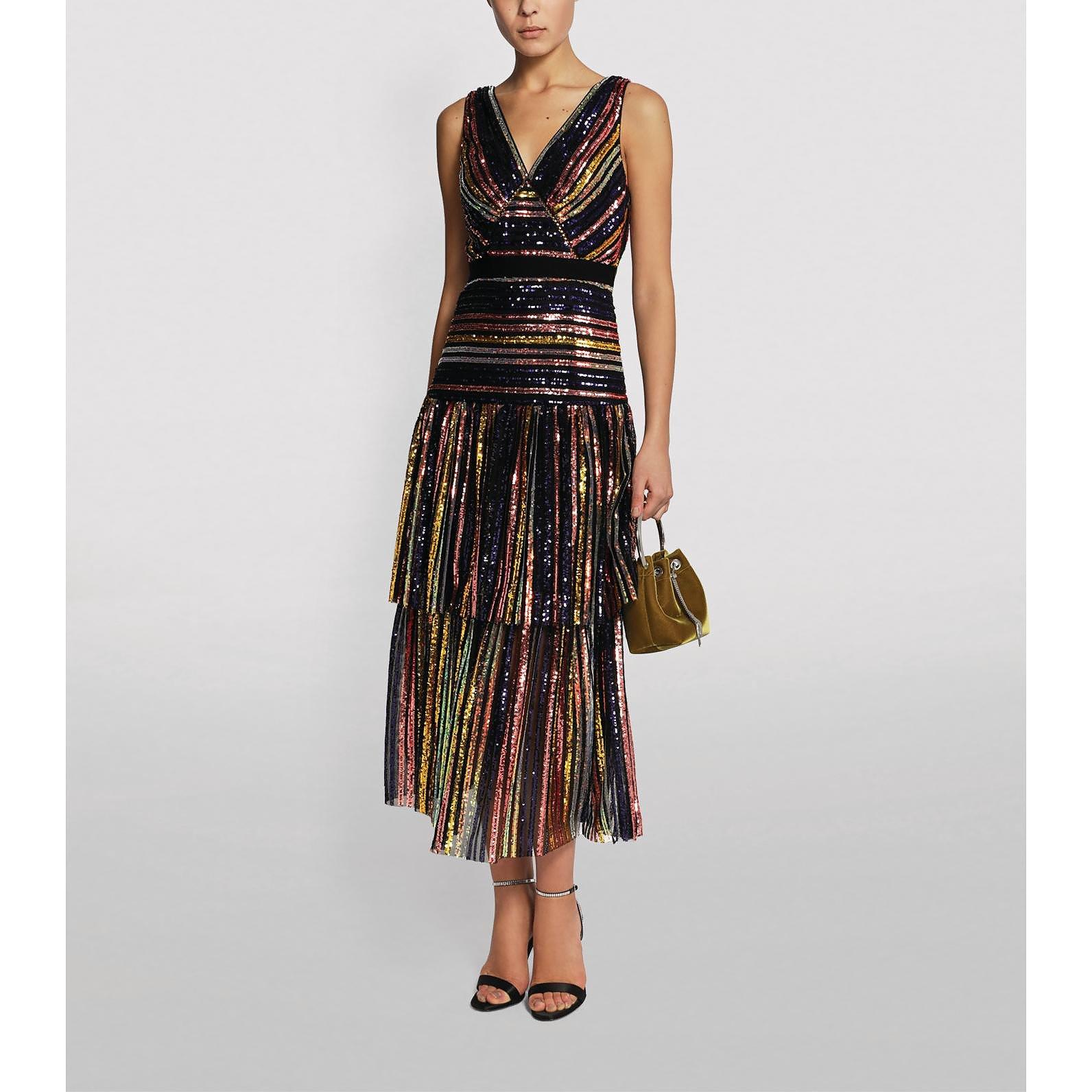 Self-Portrait Sequin Stripe Midi Dress