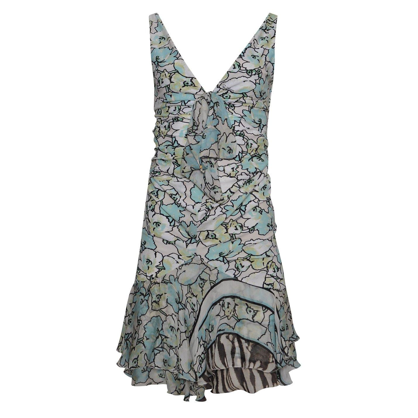 Roberto Cavalli Pastel Floral-Print Mini Dress