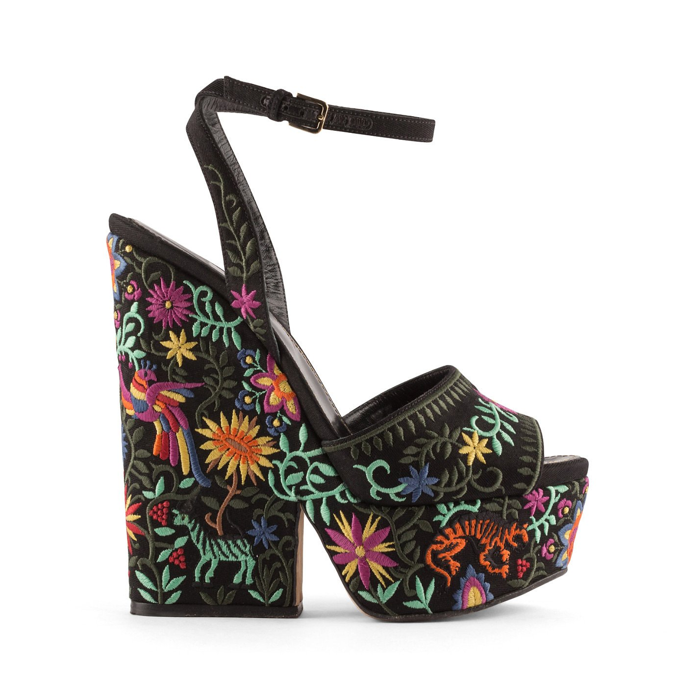 Sergio Rossi Cancun Embroidered Wedge Sandals