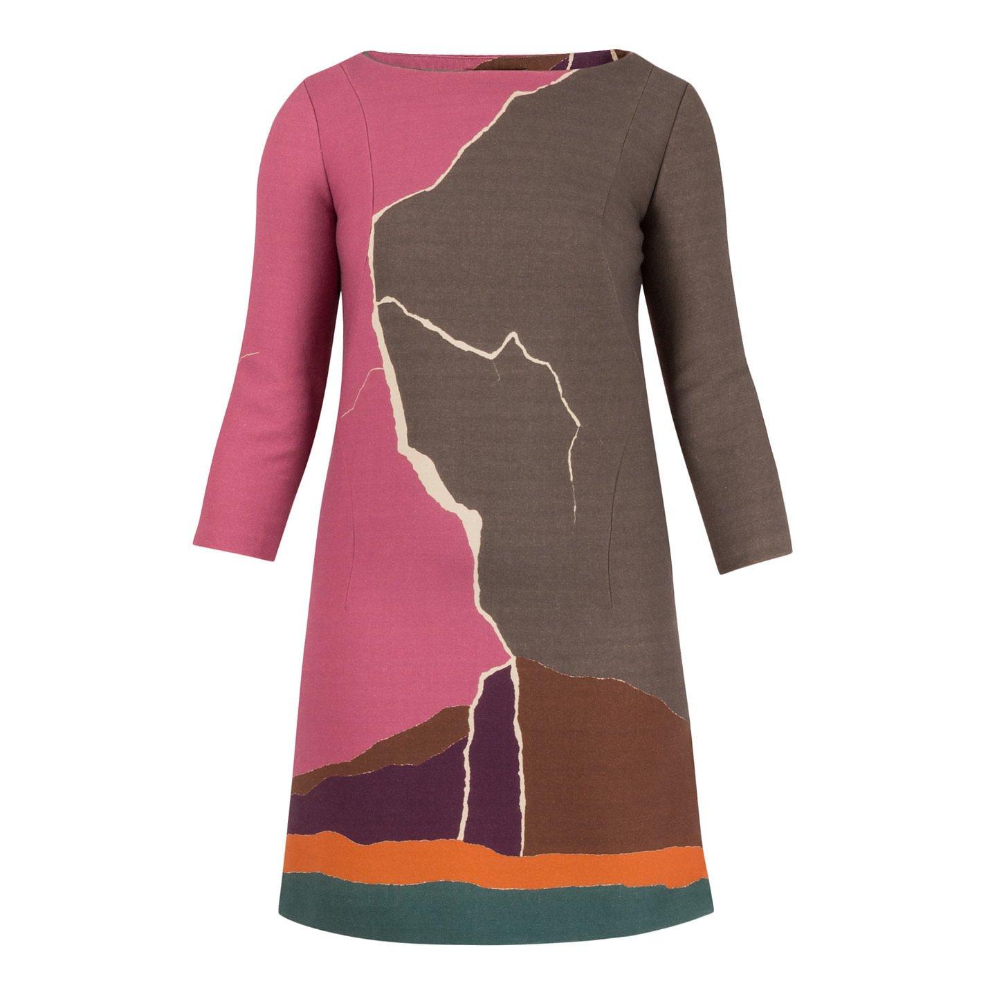Alberta Ferretti Abstract Print Wool Mini Dress