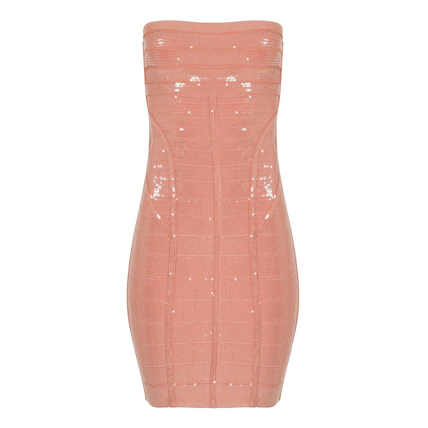 Herve Leger Frances Sequin Strapless Bandage Dress