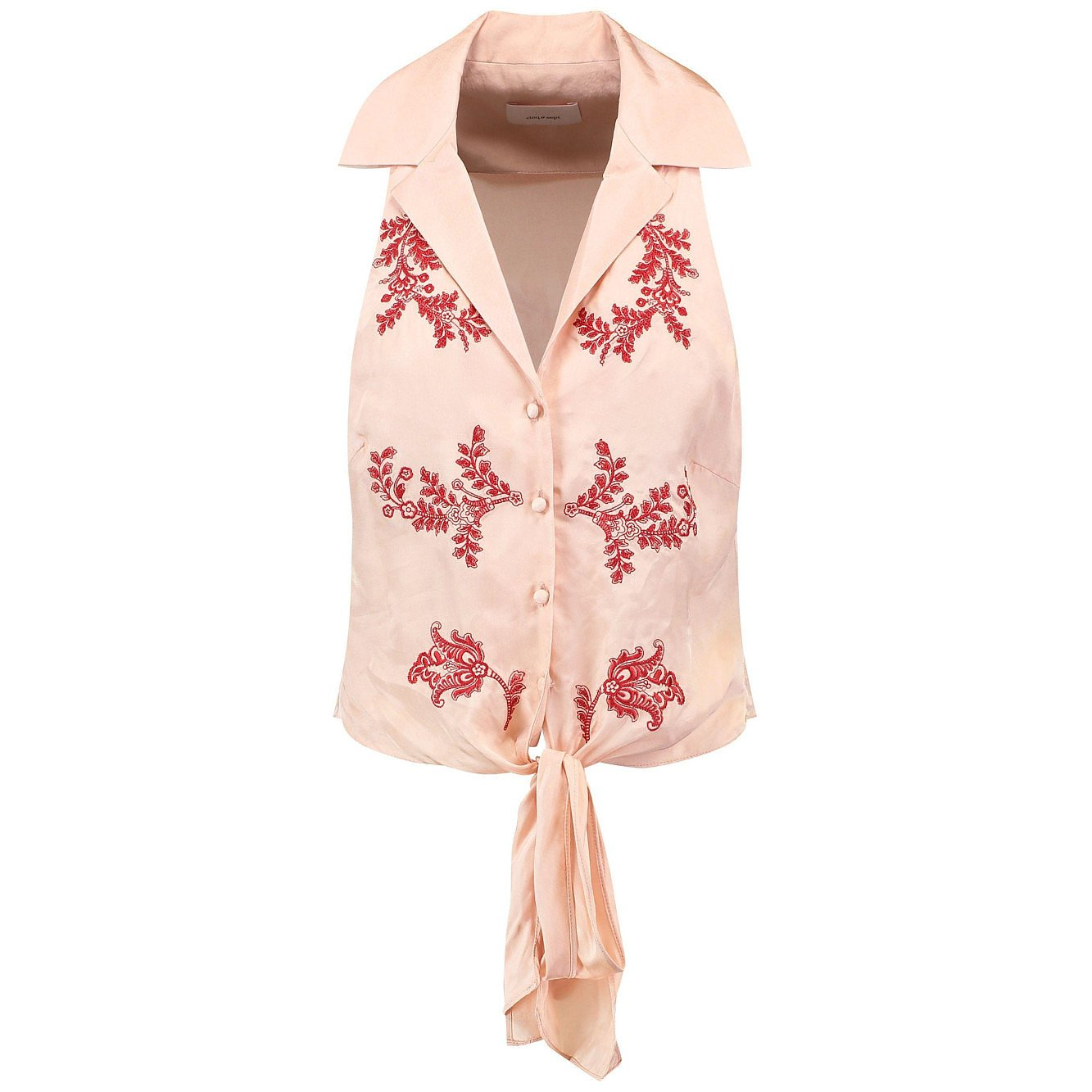 Cinq A Sept Embroidered Tie-Front Top