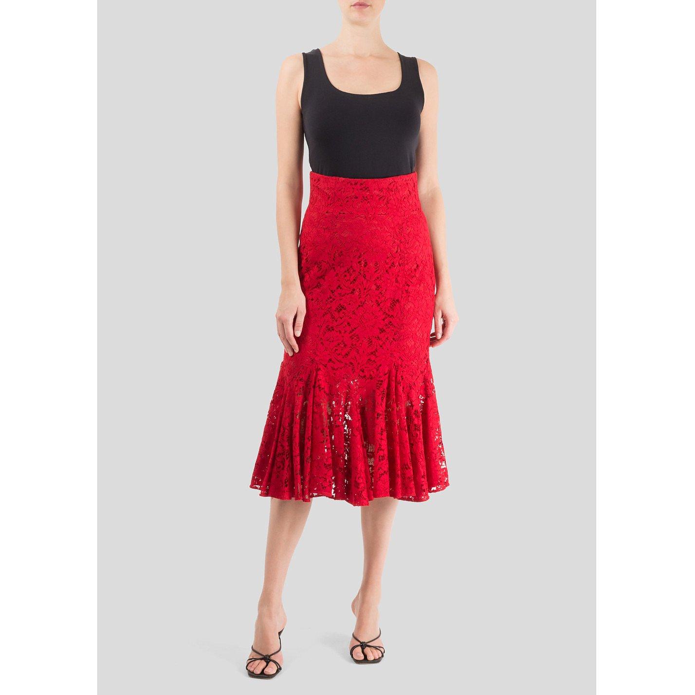 DOLCE & GABBANA Lace Fishtail Midi Skirt