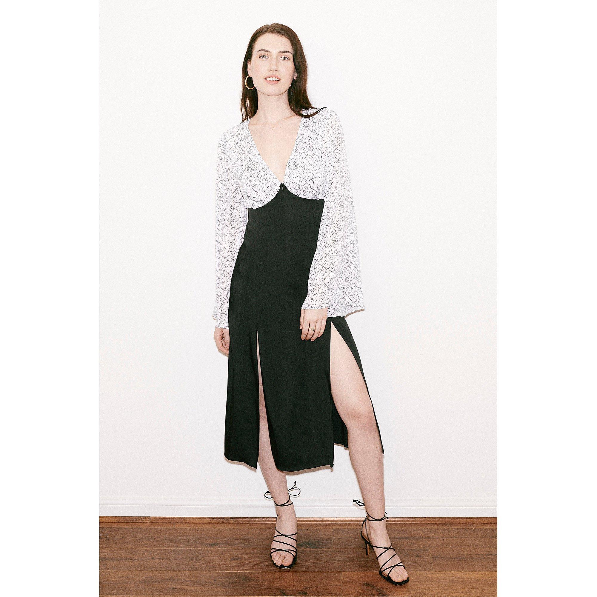 Franks London Rosemary Split Front Midi Dress