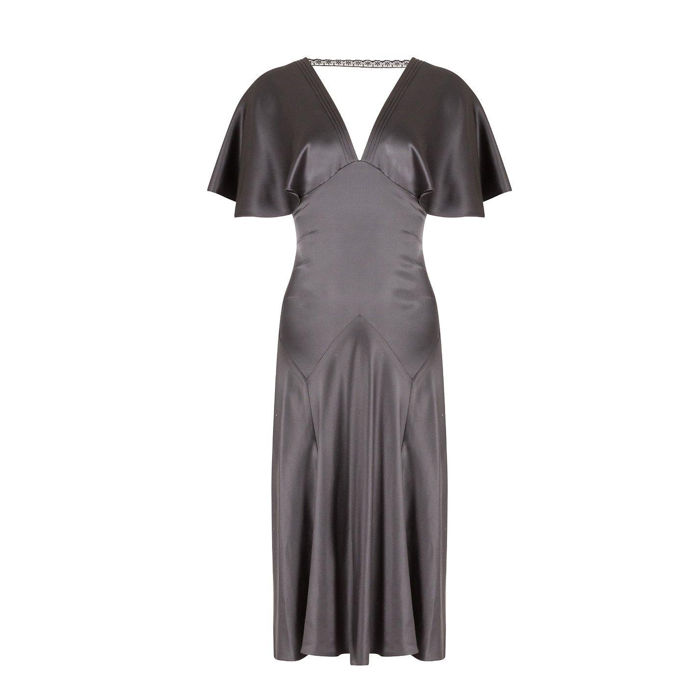 Max Azria Collection Silk-Satin V-Neck Dress
