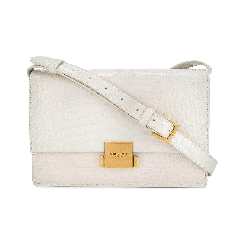 Saint Laurent Bellechasse Medium Glossed Croc-Effect Bag