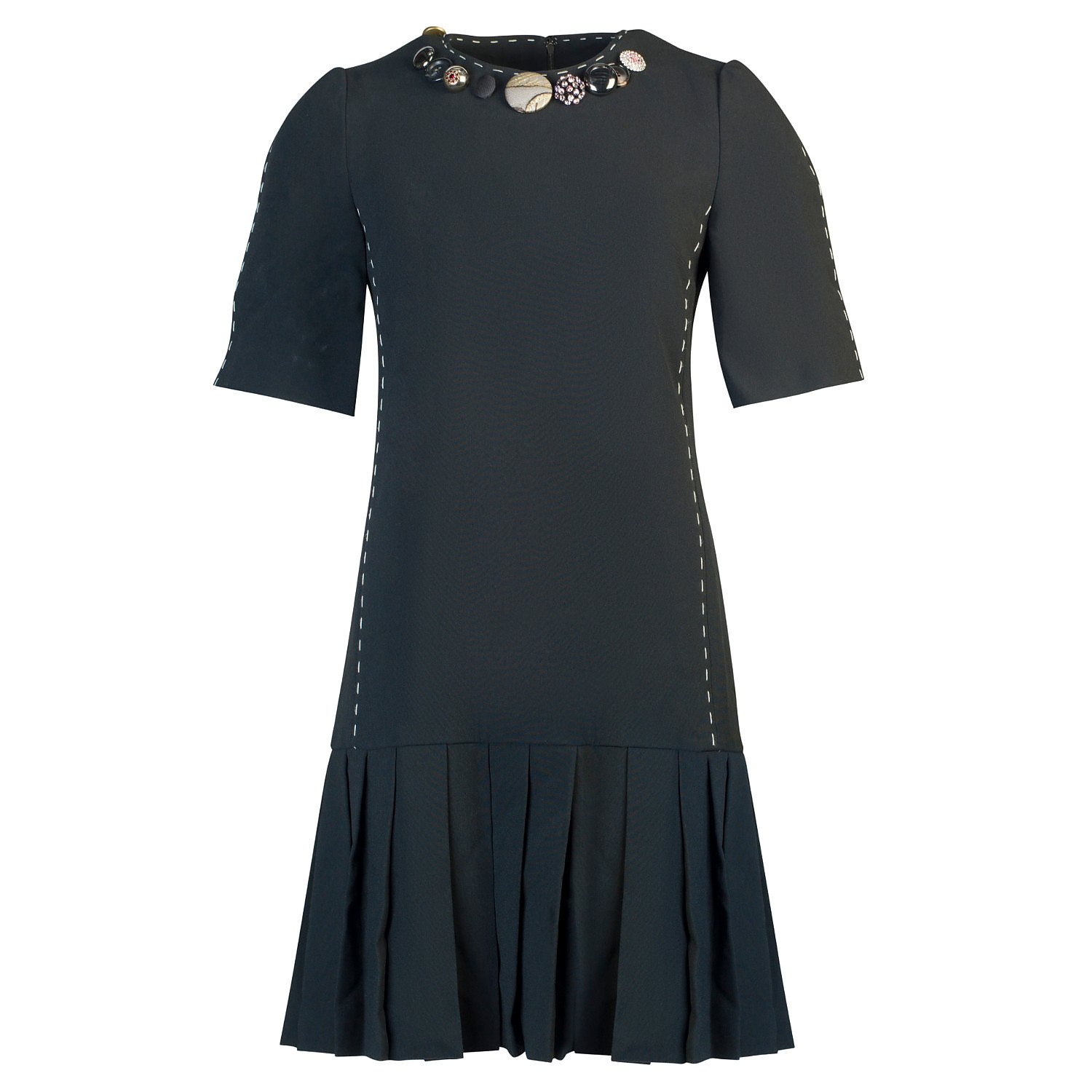 DOLCE & GABBANA Button-Embellished Pleated Dress