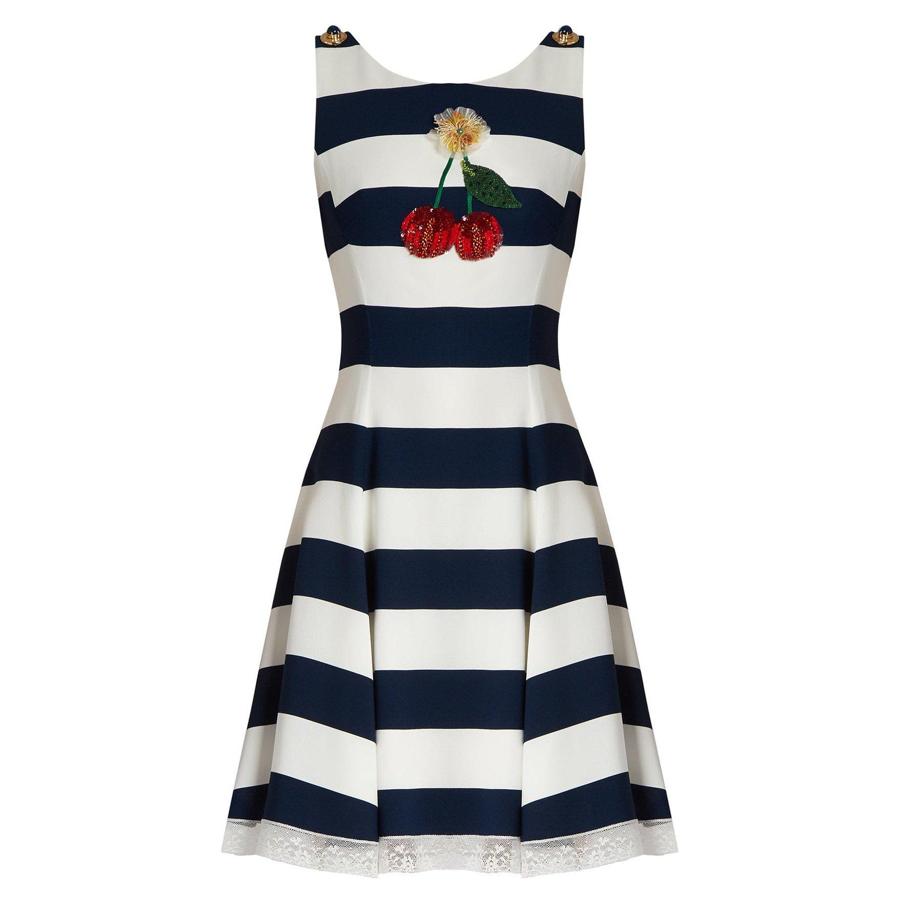 DOLCE & GABBANA Cherry-Embellished Striped Cady Dress