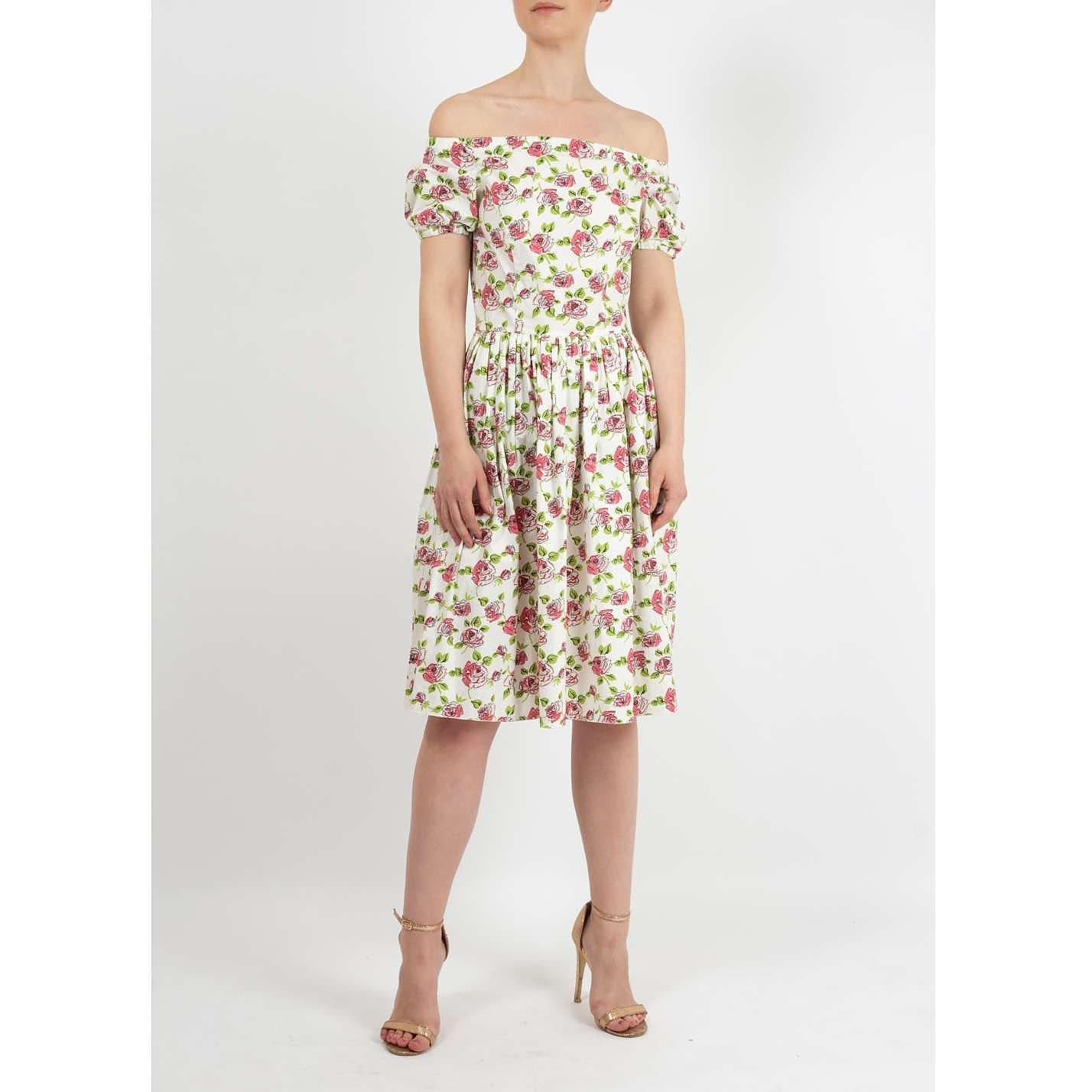 PRADA Off the Shoulder Floral Dress
