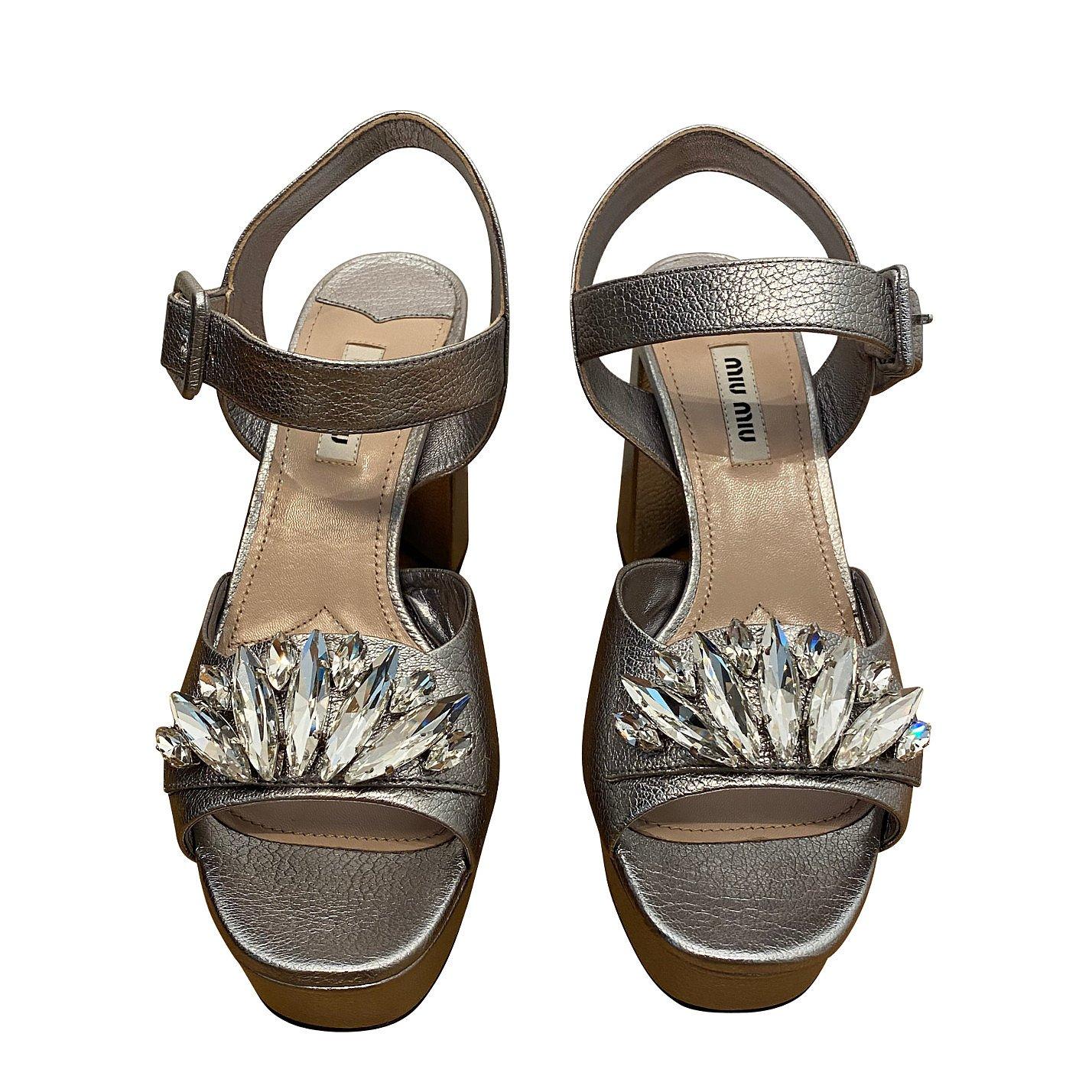 Miu Miu Metallic Block-Heel Jewelled Sandals