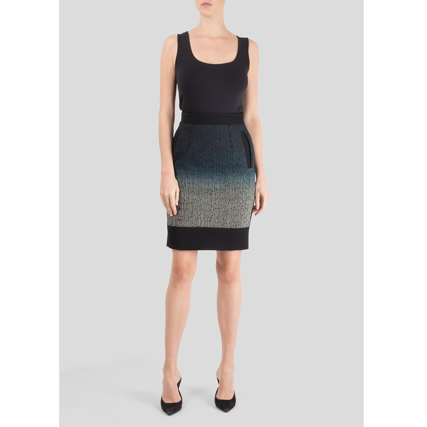 Jonathan Saunders Ombré Stripe Pencil Skirt