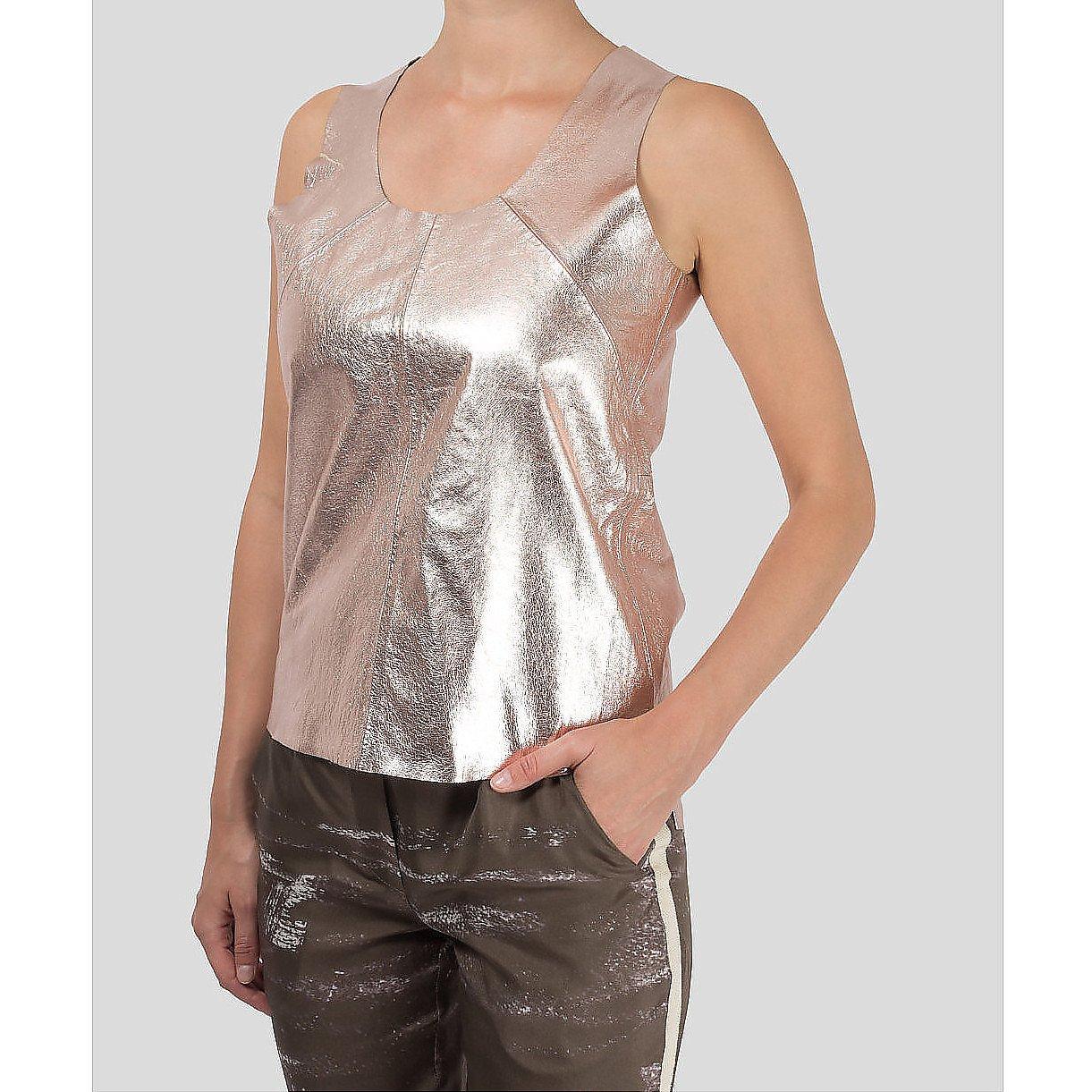 Zoe Jordan Metallic Leather Top
