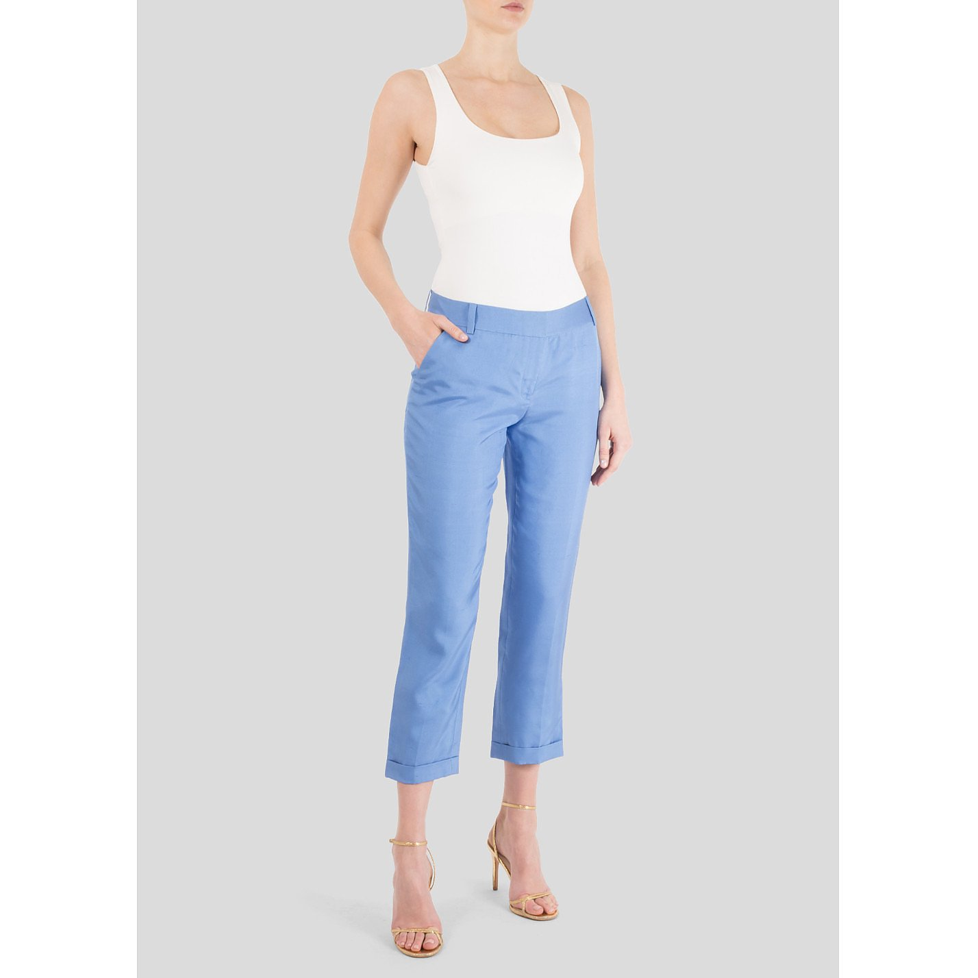 Diane von Furstenberg Cropped Silk Trousers