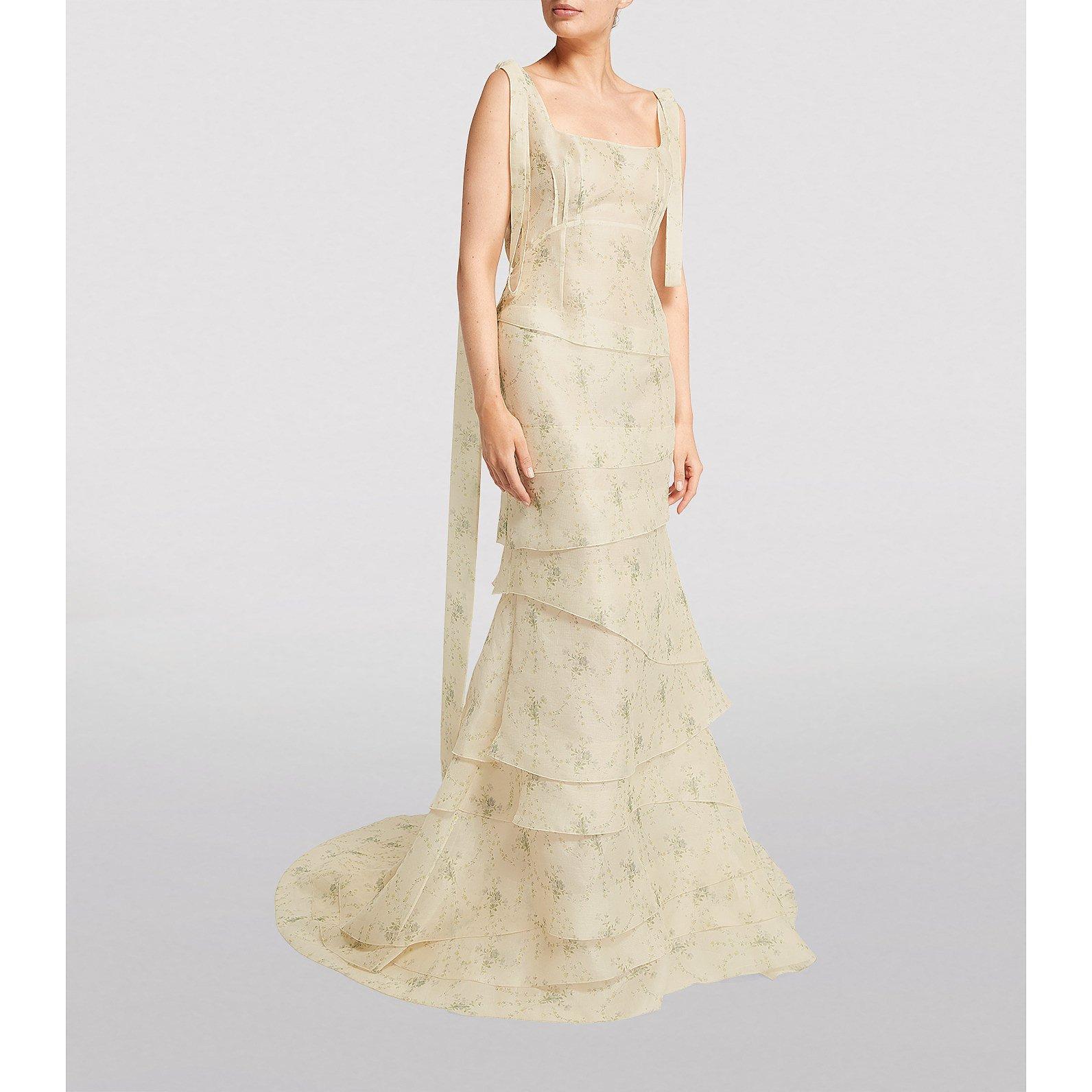 Brock Collection Silk Organza Shoulder-Tie Quarrie Gown