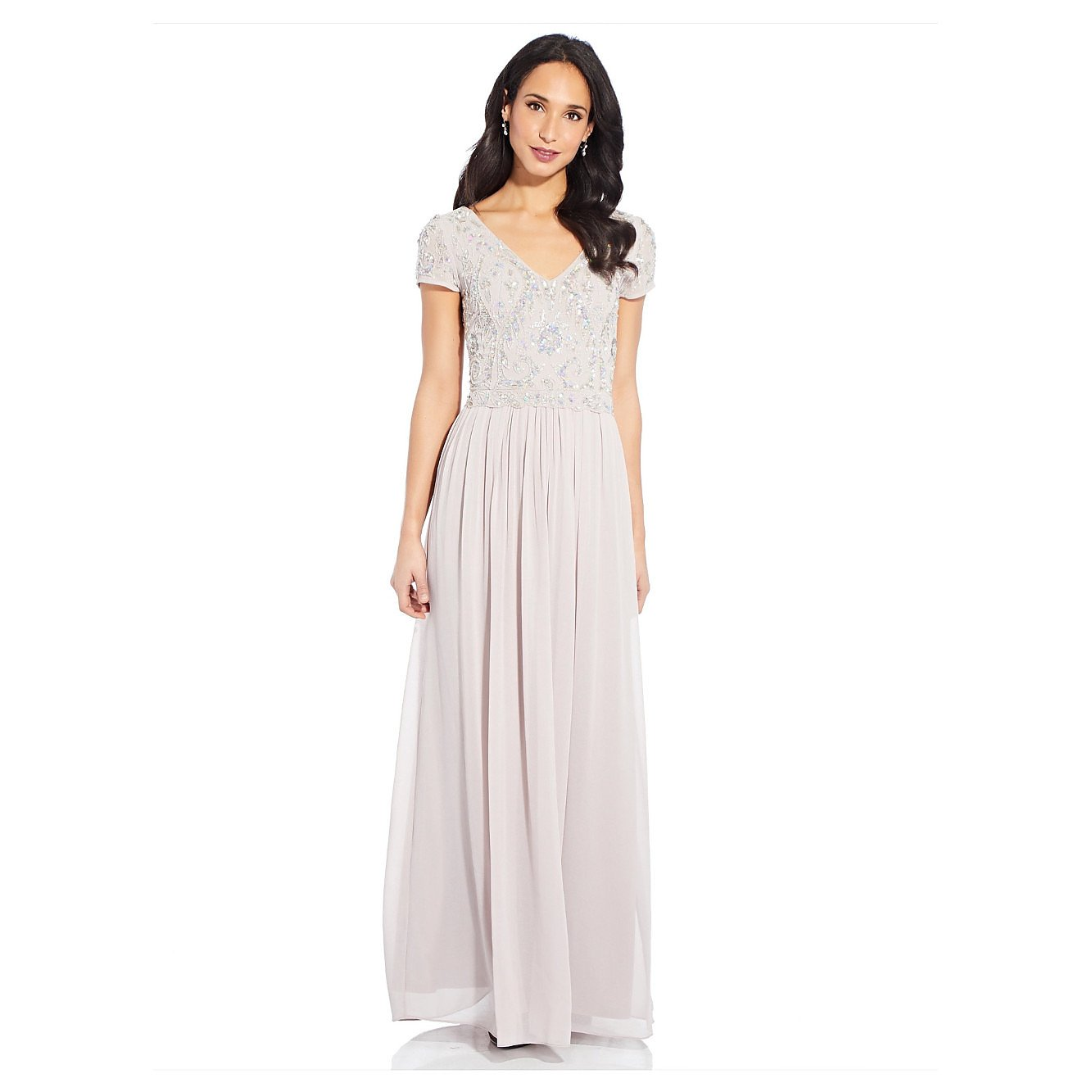 Adrianna Papell Beaded Gown With Soft Skirt