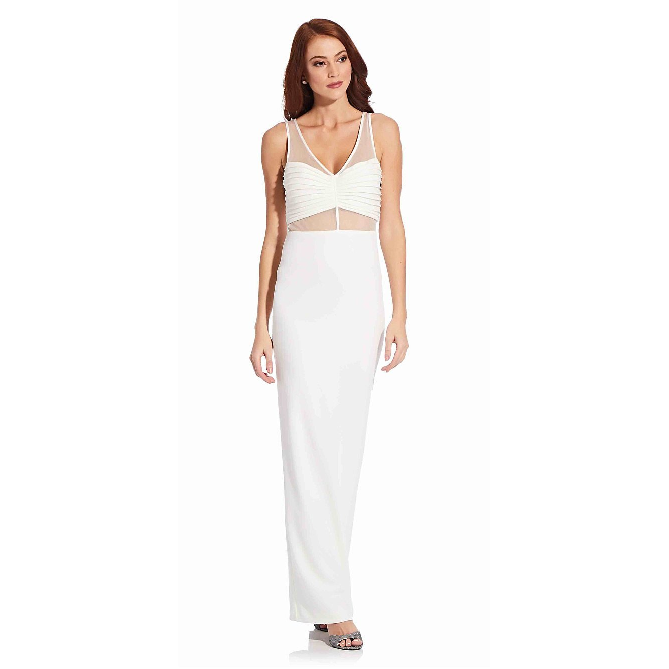 Adrianna Papell Illusion Crepe Column Gown