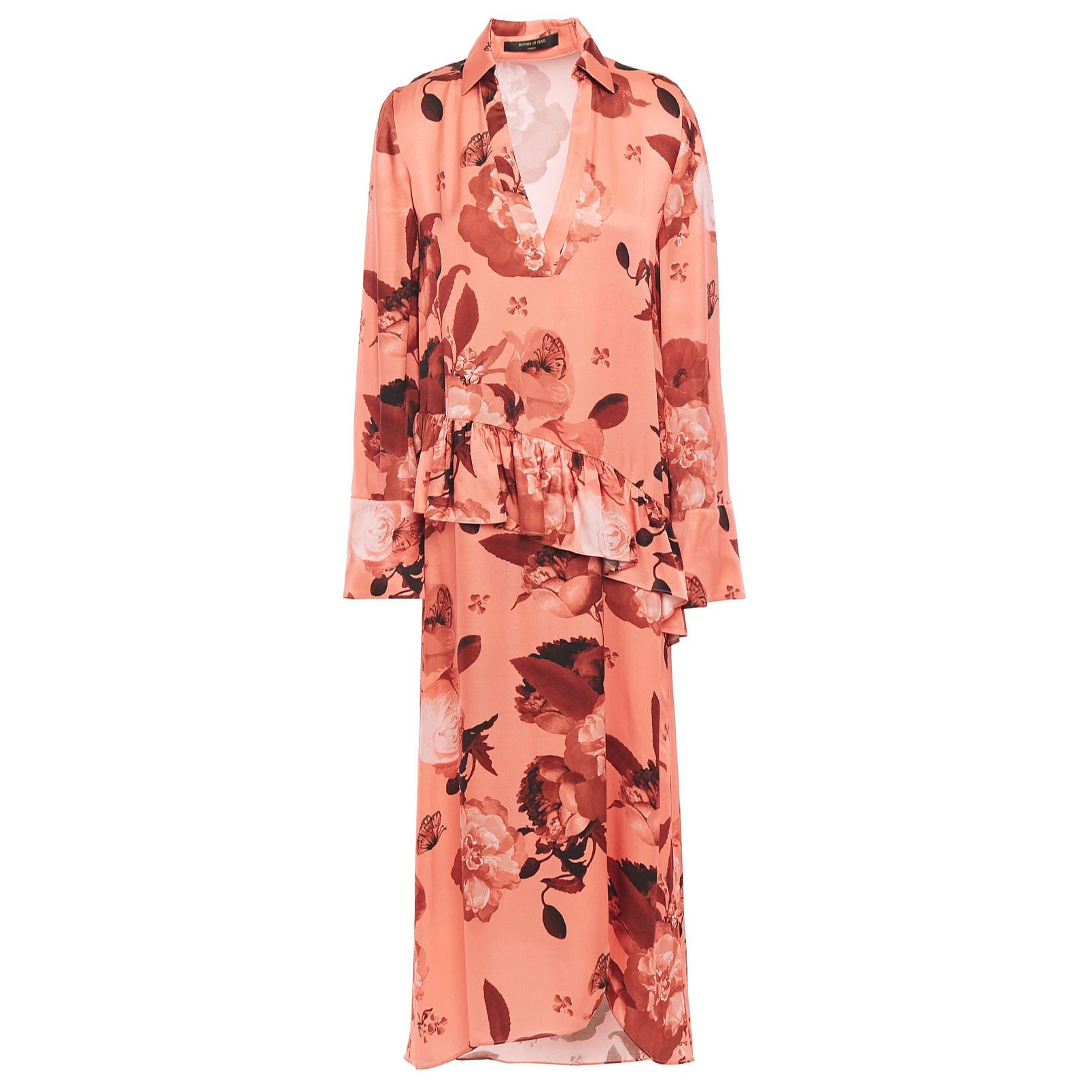 Mother of Pearl Alba Floral-Print Satin Midi Dress