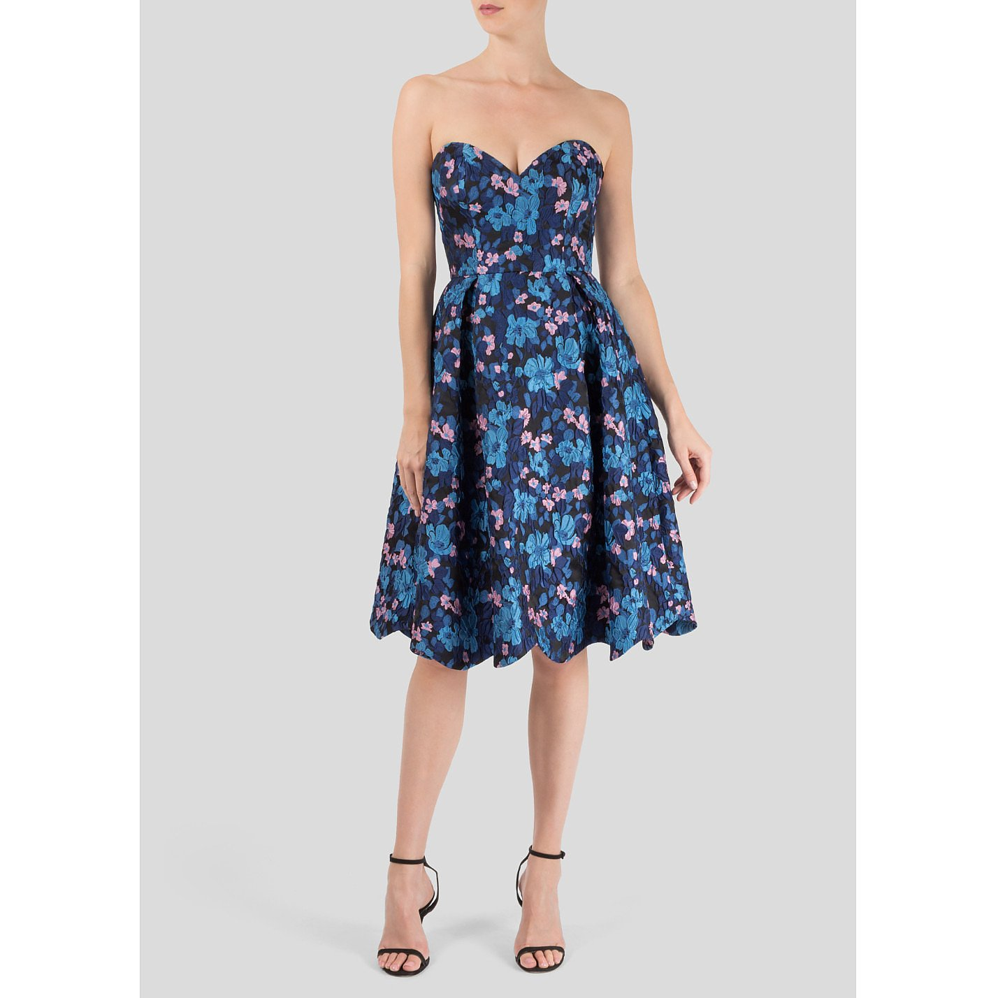 Starsica Strapless Floral Jacquard Dress
