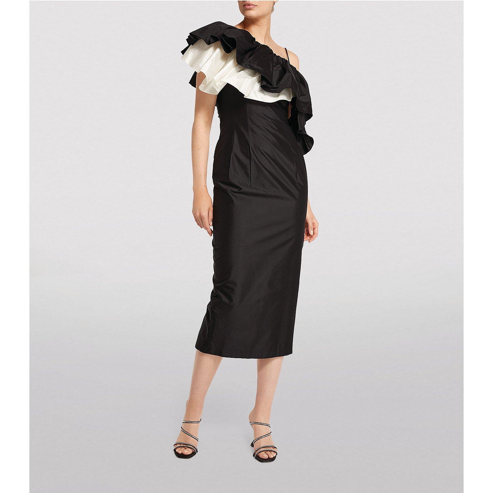 Rasario Silk Ruffled One-Shoulder Midi Dress