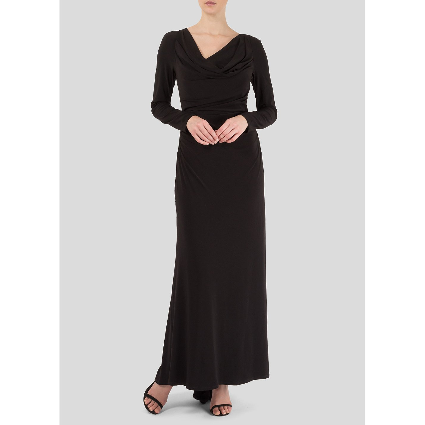Vera Wang Ruched Long Sleeve Gown