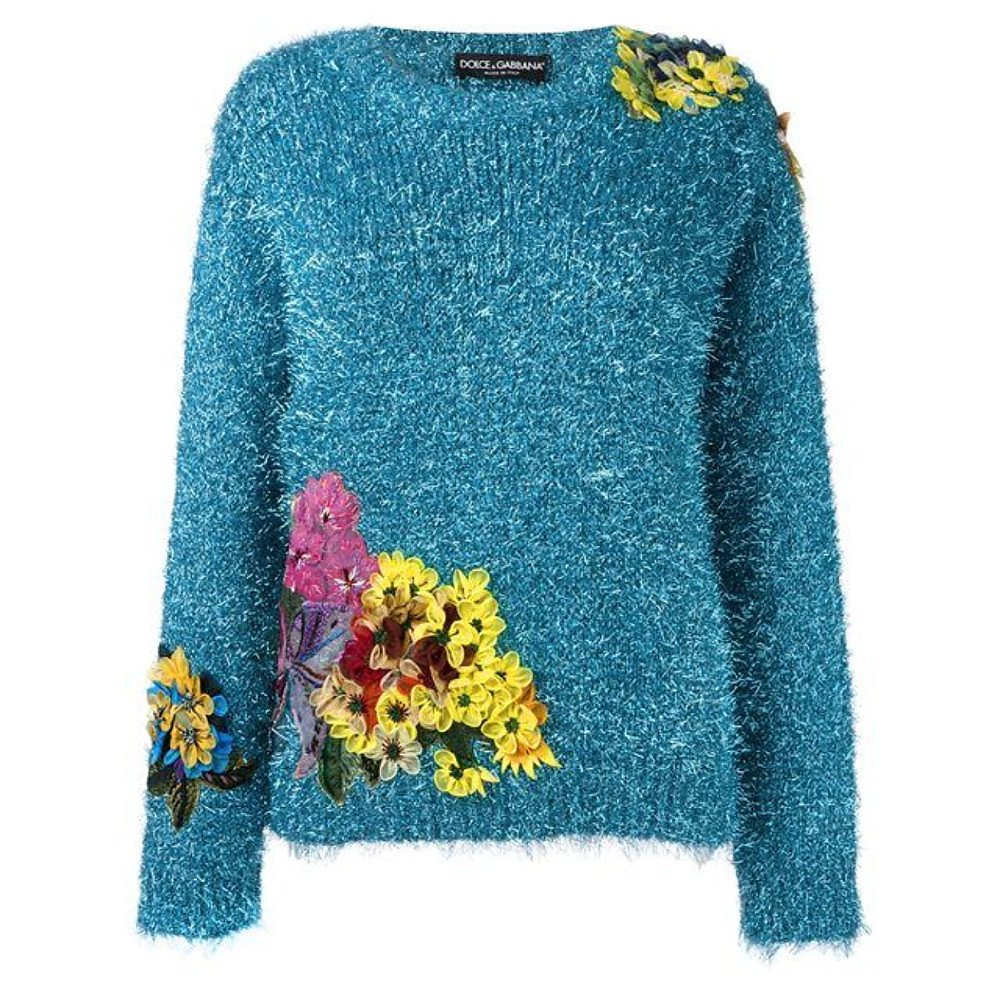DOLCE & GABBANA Tinsel Rib Knit Floral Applique Sweater